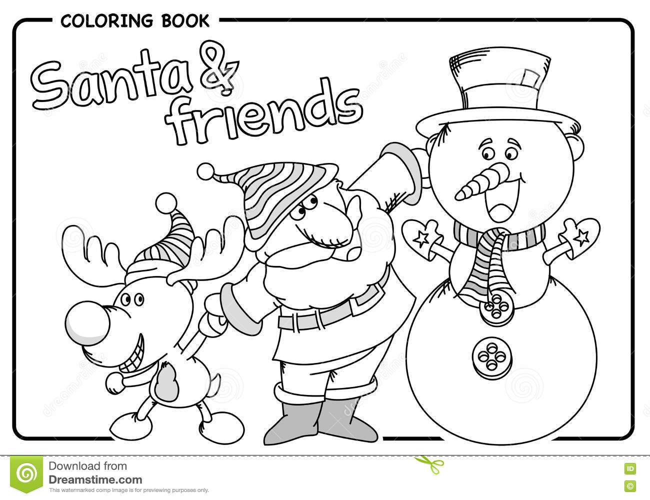 Santa Claus With His Friends Reindeer And Snowman - Coloring Draw ...