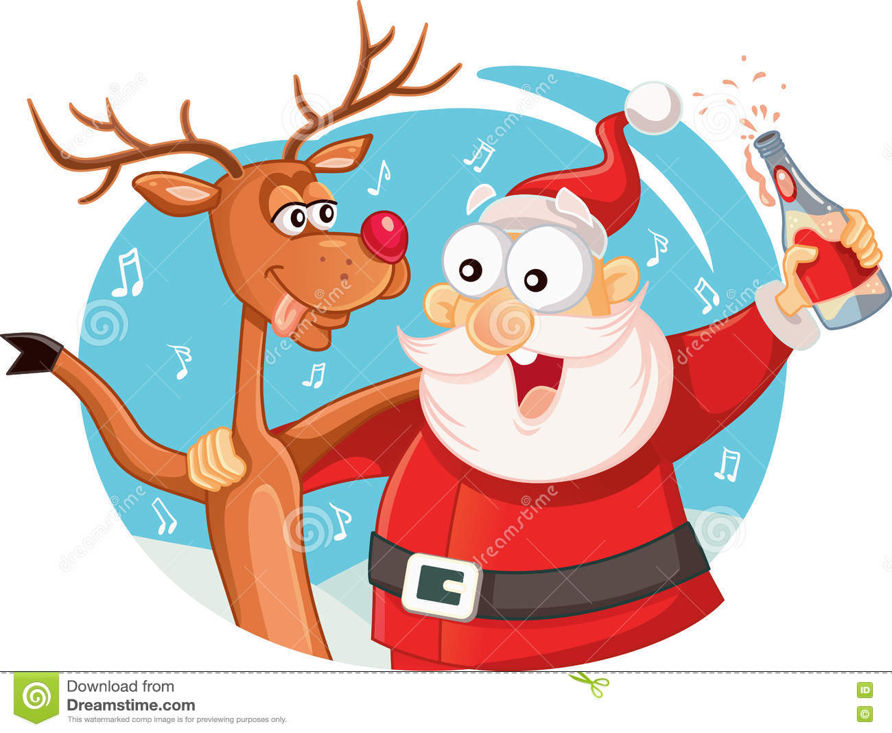 drunk santa dancing vector cartoon vector illustration. Black Bedroom Furniture Sets. Home Design Ideas