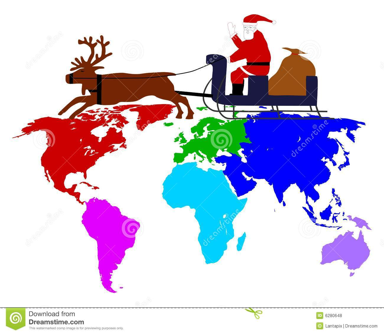Santa Claus On His Sleigh Above The Six Continents Stock