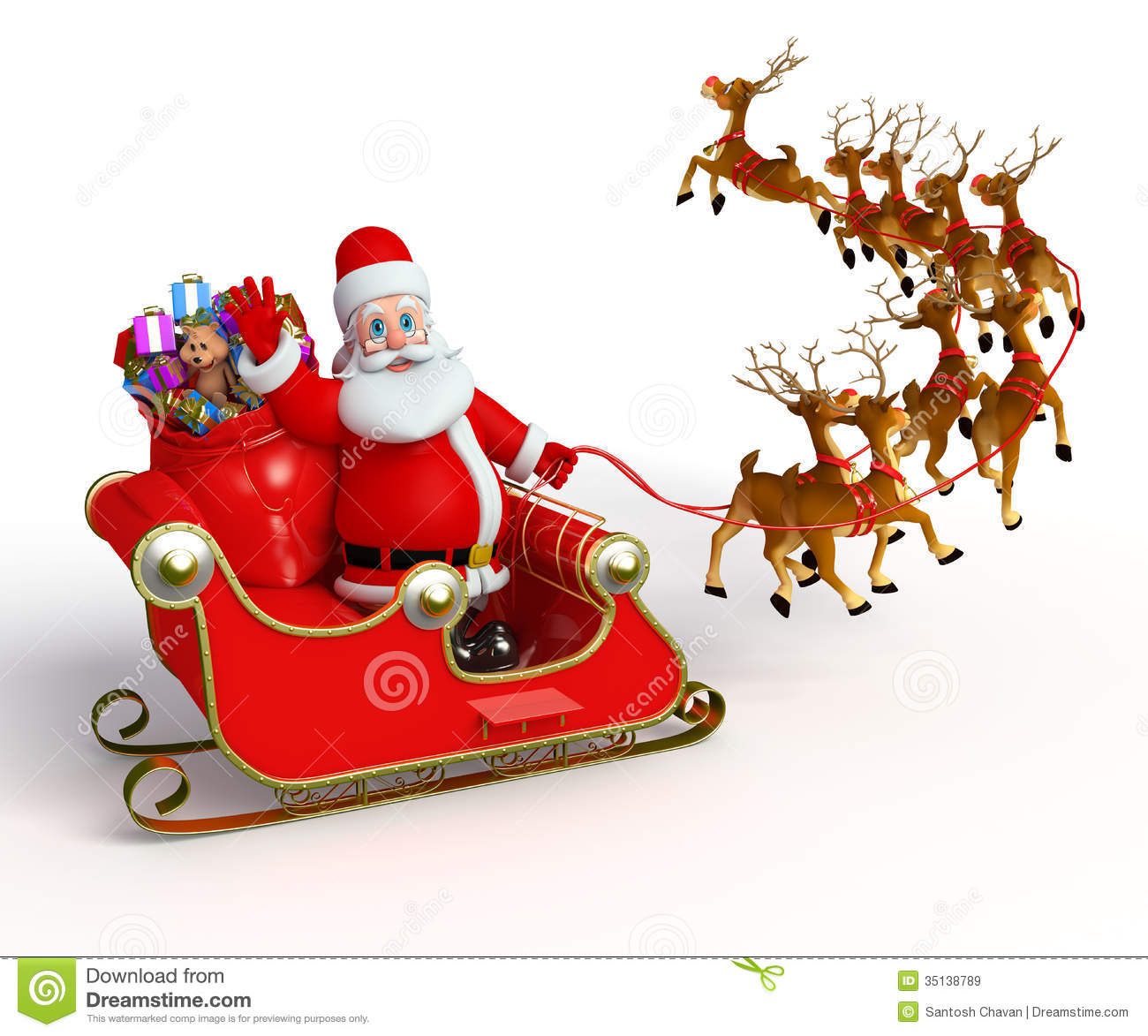 Stock Photo: Santa Claus with his sleigh. Image: