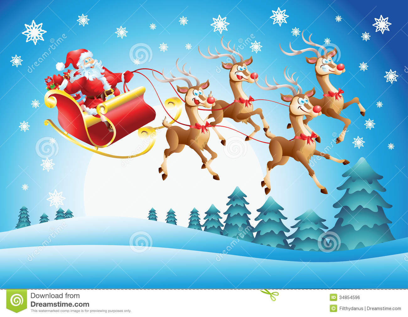 Santa Claus In His Sleigh Flying Royalty Free Stock Image - Image ...