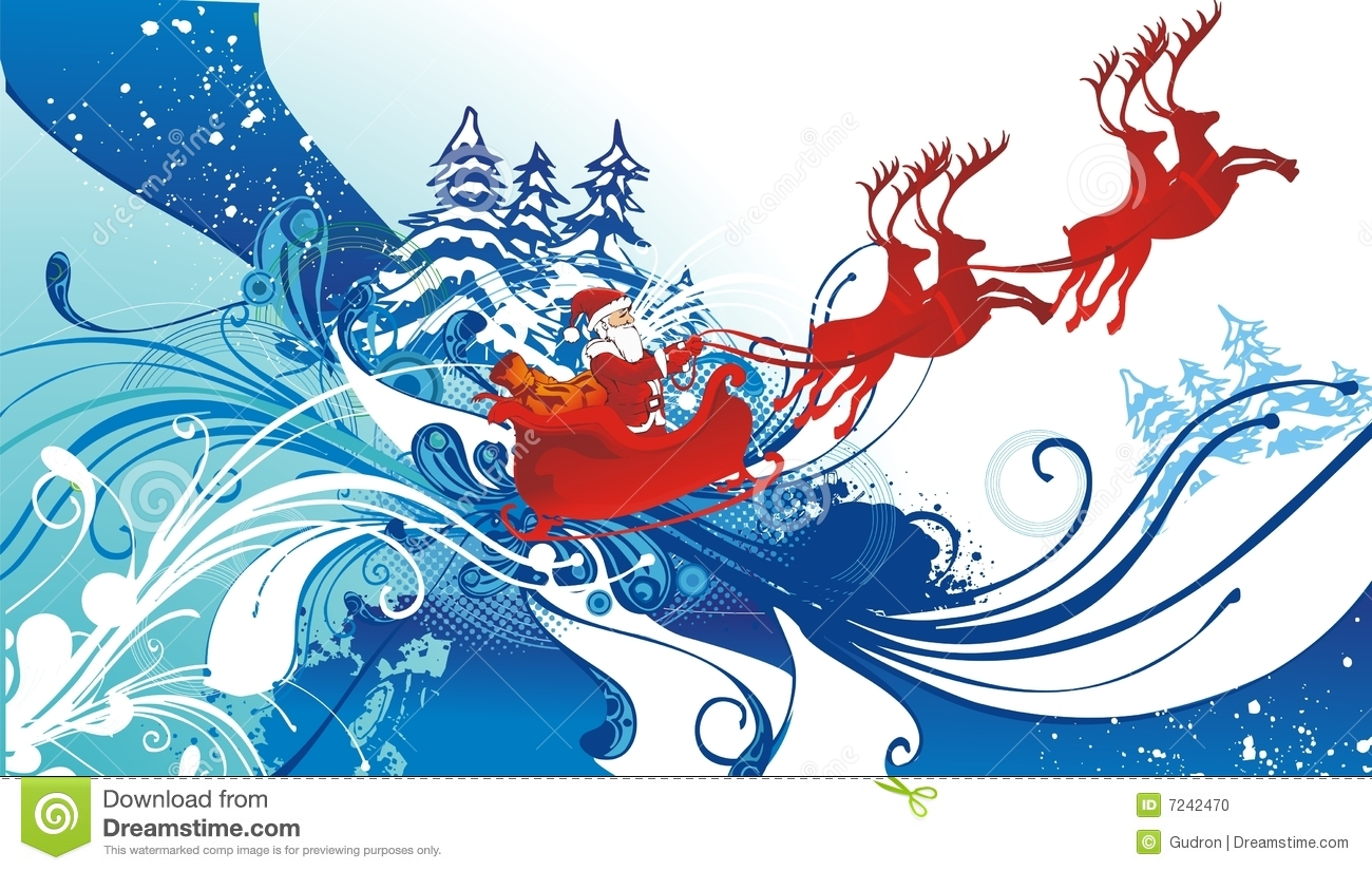Santa Claus And His Sleigh Flying Stock Vector - Image ...