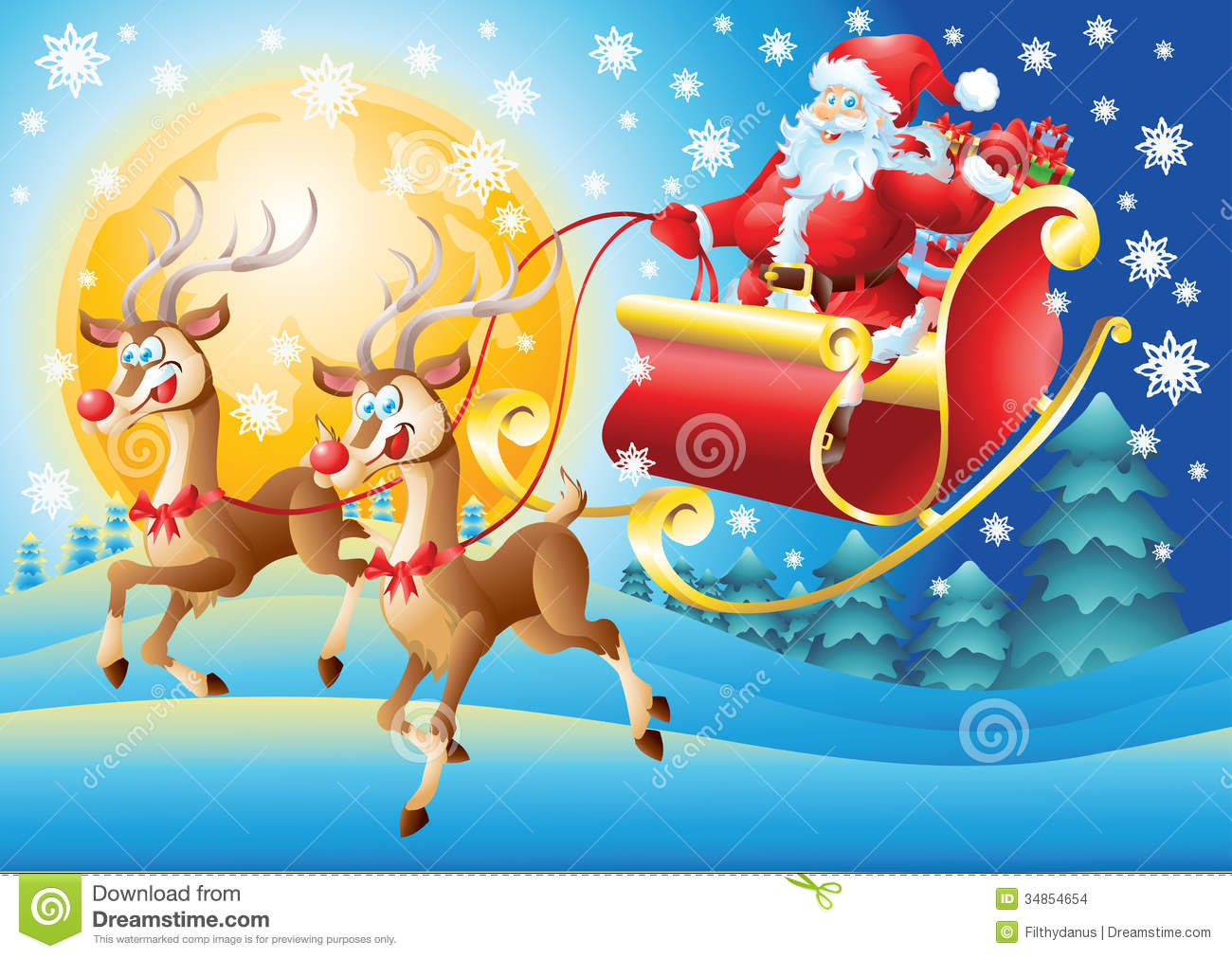 Santa Claus In His Sleigh Flying At Night Stock Images - Image ...