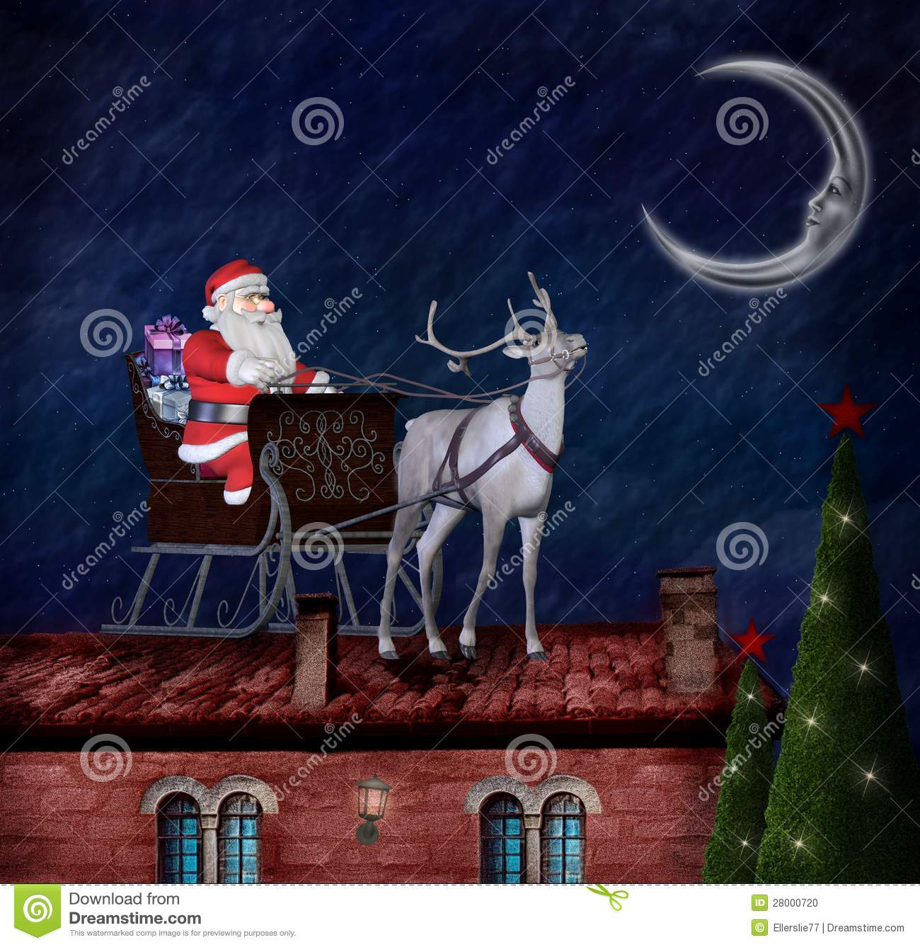 Santa Claus And His Sleigh On A Roof Stock Illustration
