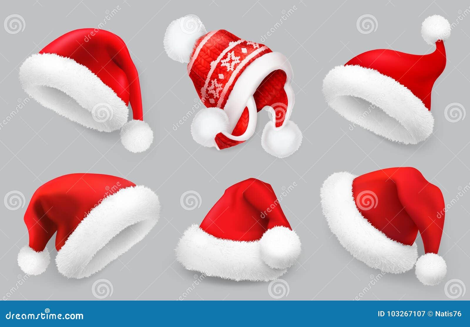Santa Claus-hoed De winterkleren Reeks van het Kerstmis 3d vectorpictogram