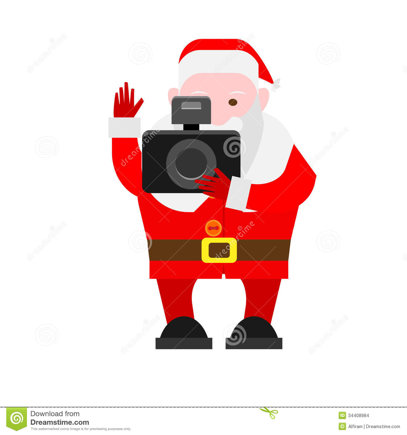 Santa Claus Hold The Camera Stock Vector