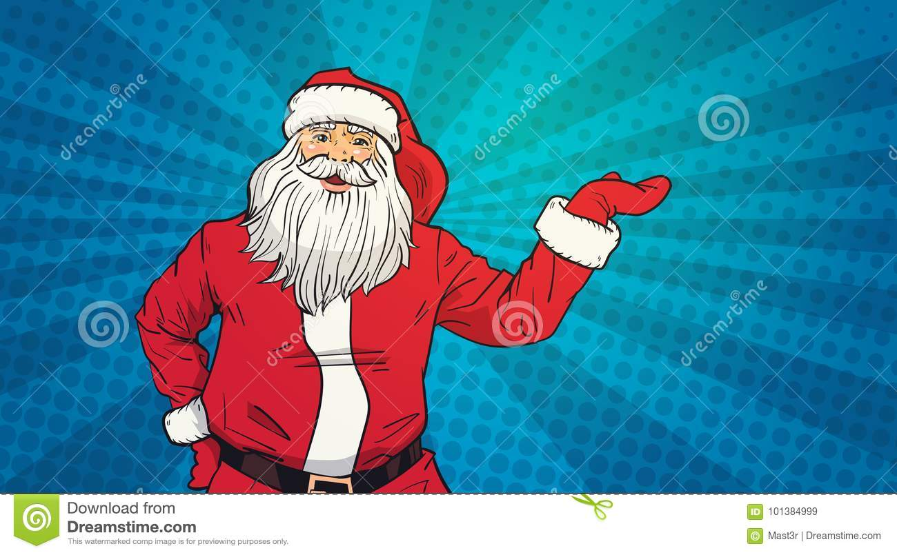 Santa Claus Hold Open Palm To Copy Space Pop Art Style Happy New Year And Merry Christmas Holiday Concept