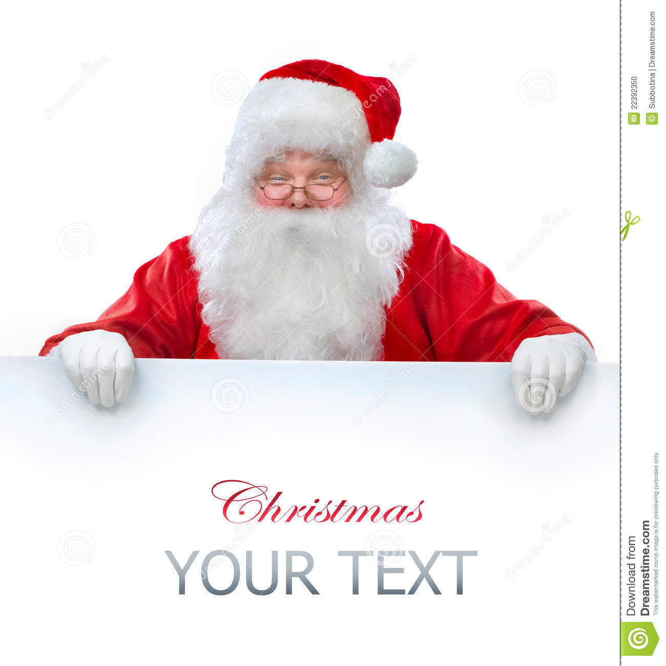 Santa claus holding banner stock photo image of isolated