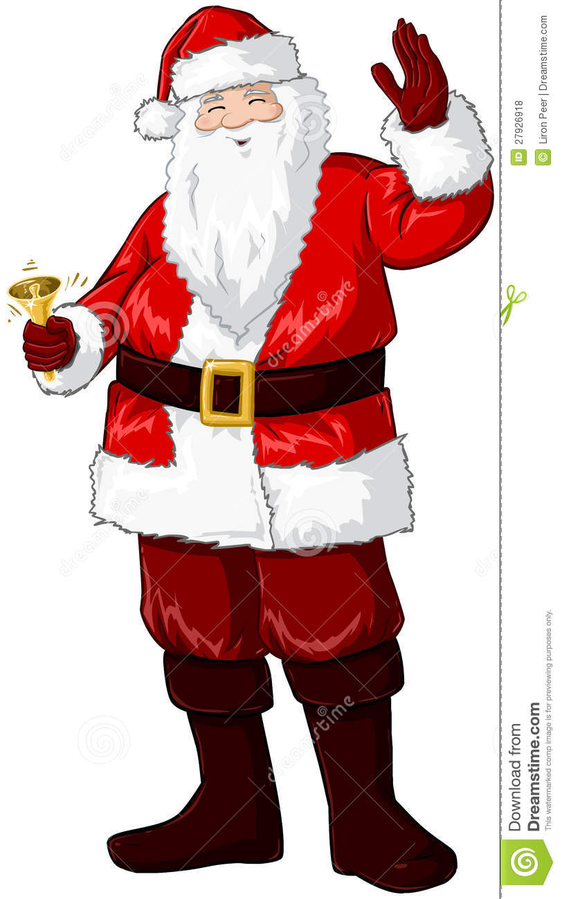 Santa claus holding bell and waving for christmas stock