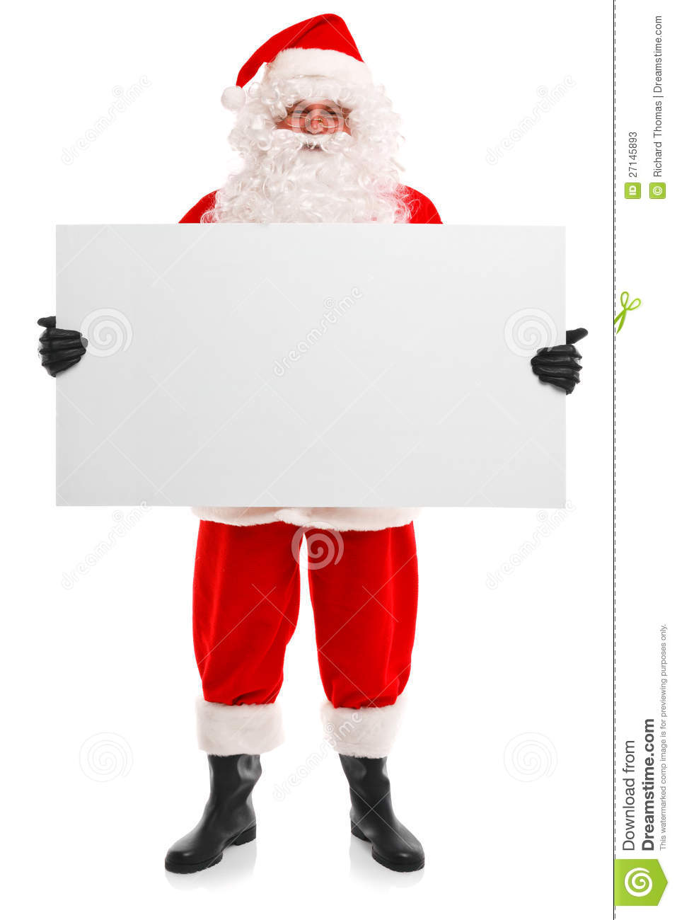 santa claus holding a blank sign stock image image of male beard
