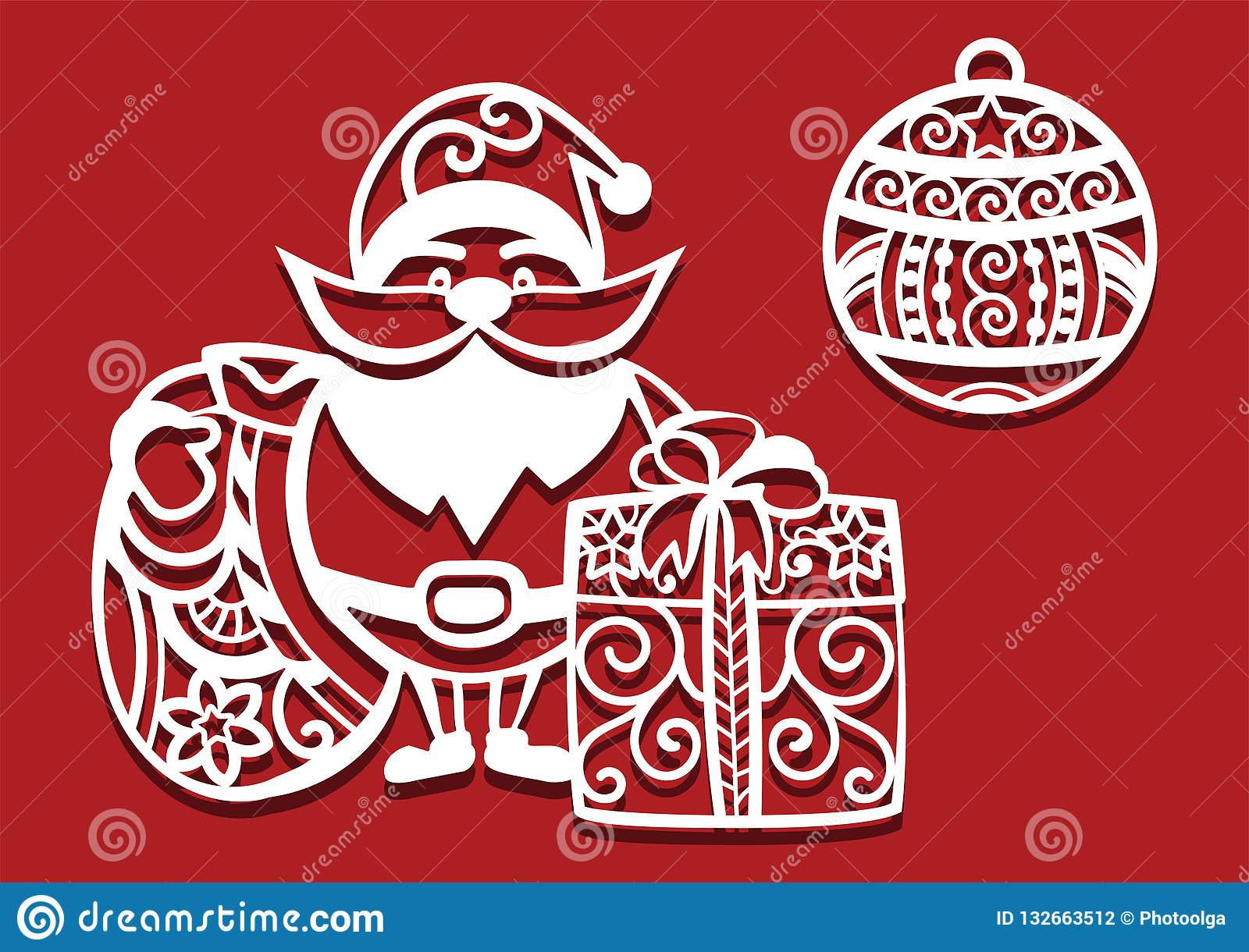 santa claus holding christmas bag and gift and christmas ball for laser cutting new year