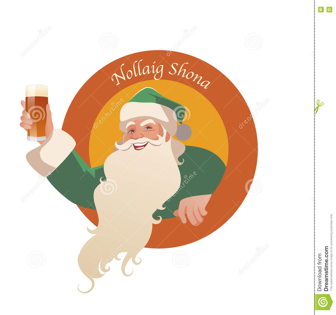 santa claus holding a glass of beer merry christmas in irish language