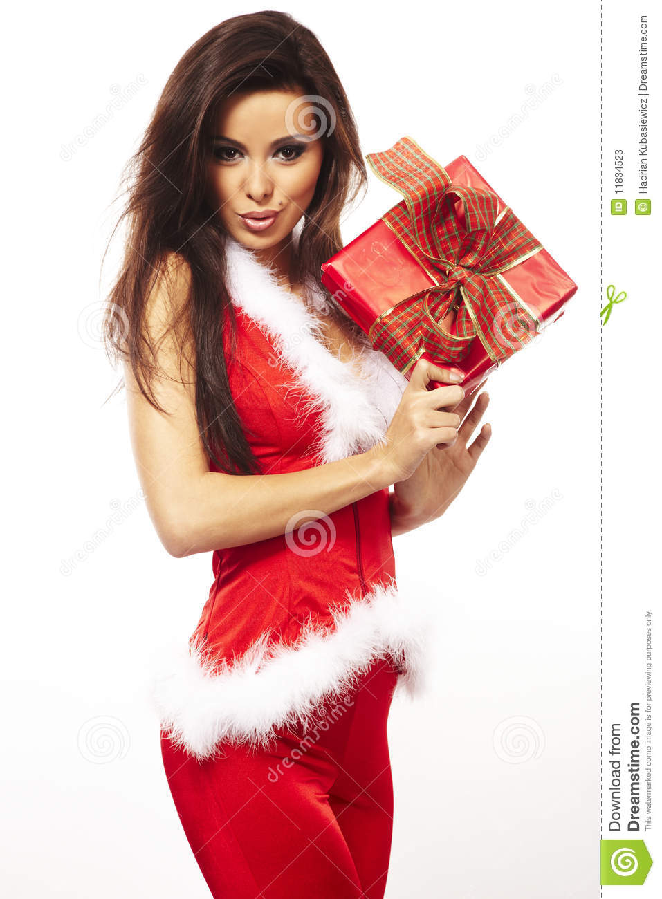 Download Santa Claus And Holding Red Gift On White Stock Image - Image of girl, wavy: 11834523