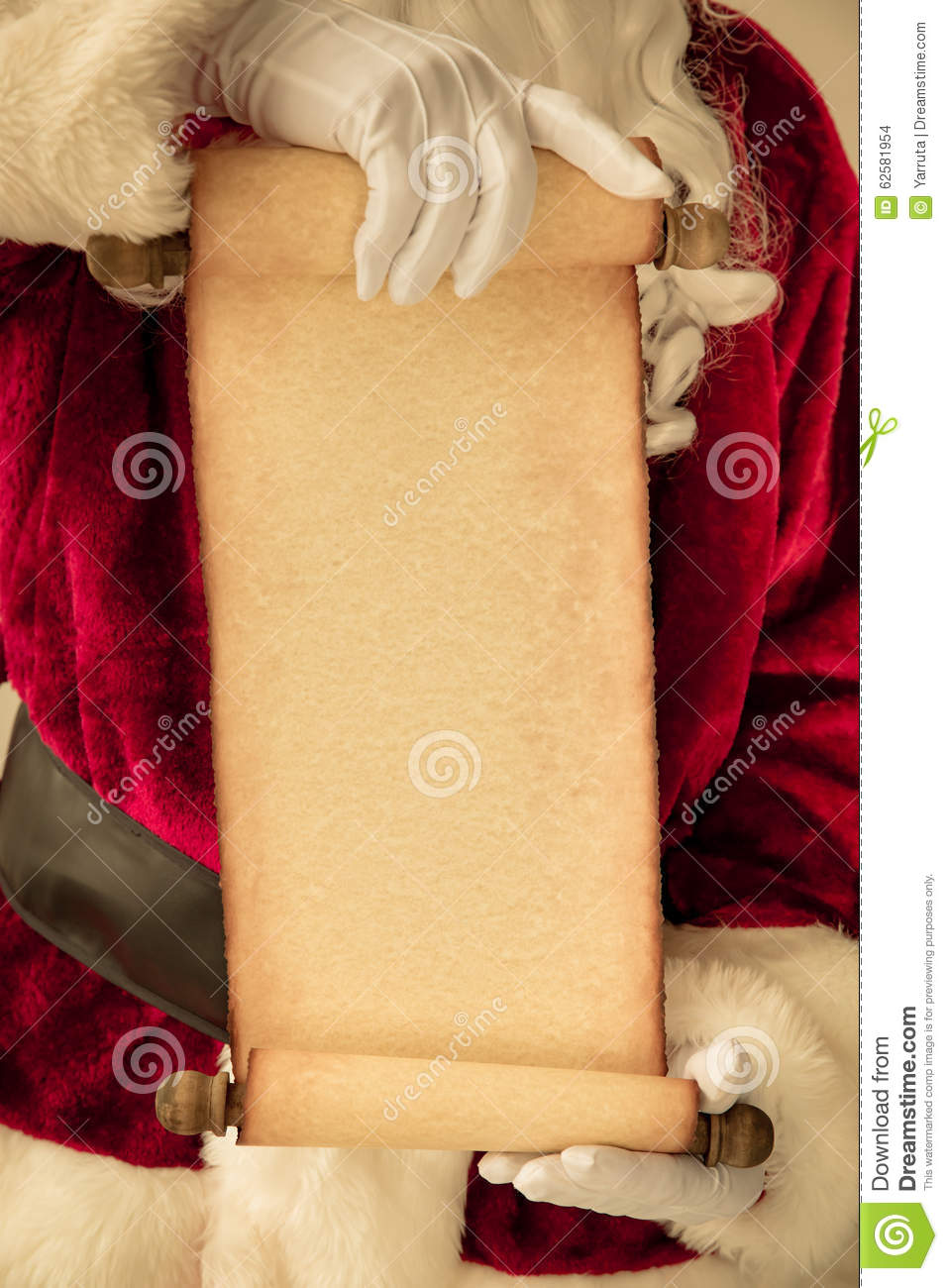 santa claus holding scroll paper blank stock photo