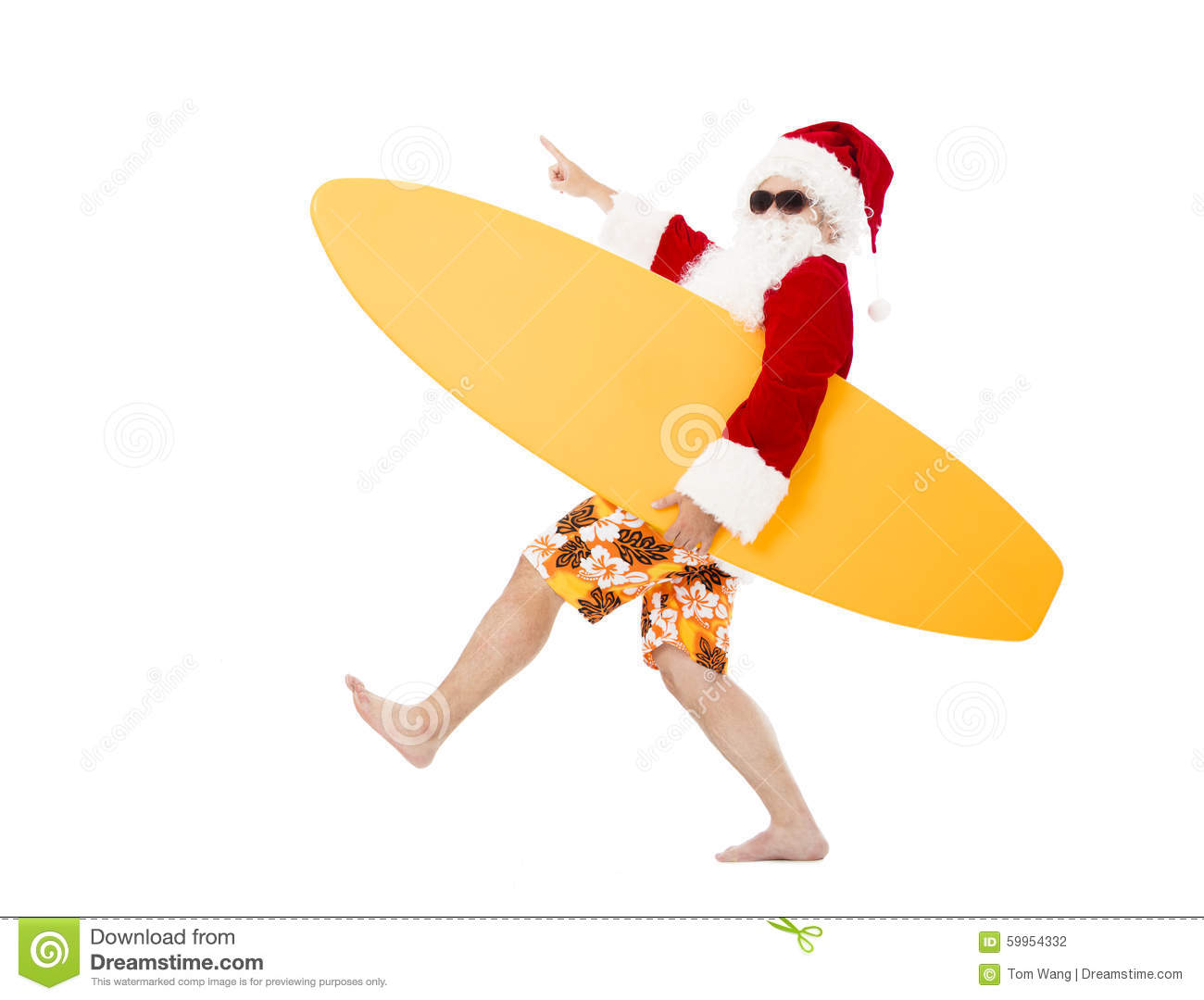 Santa Claus holding surf board with pointing gesture