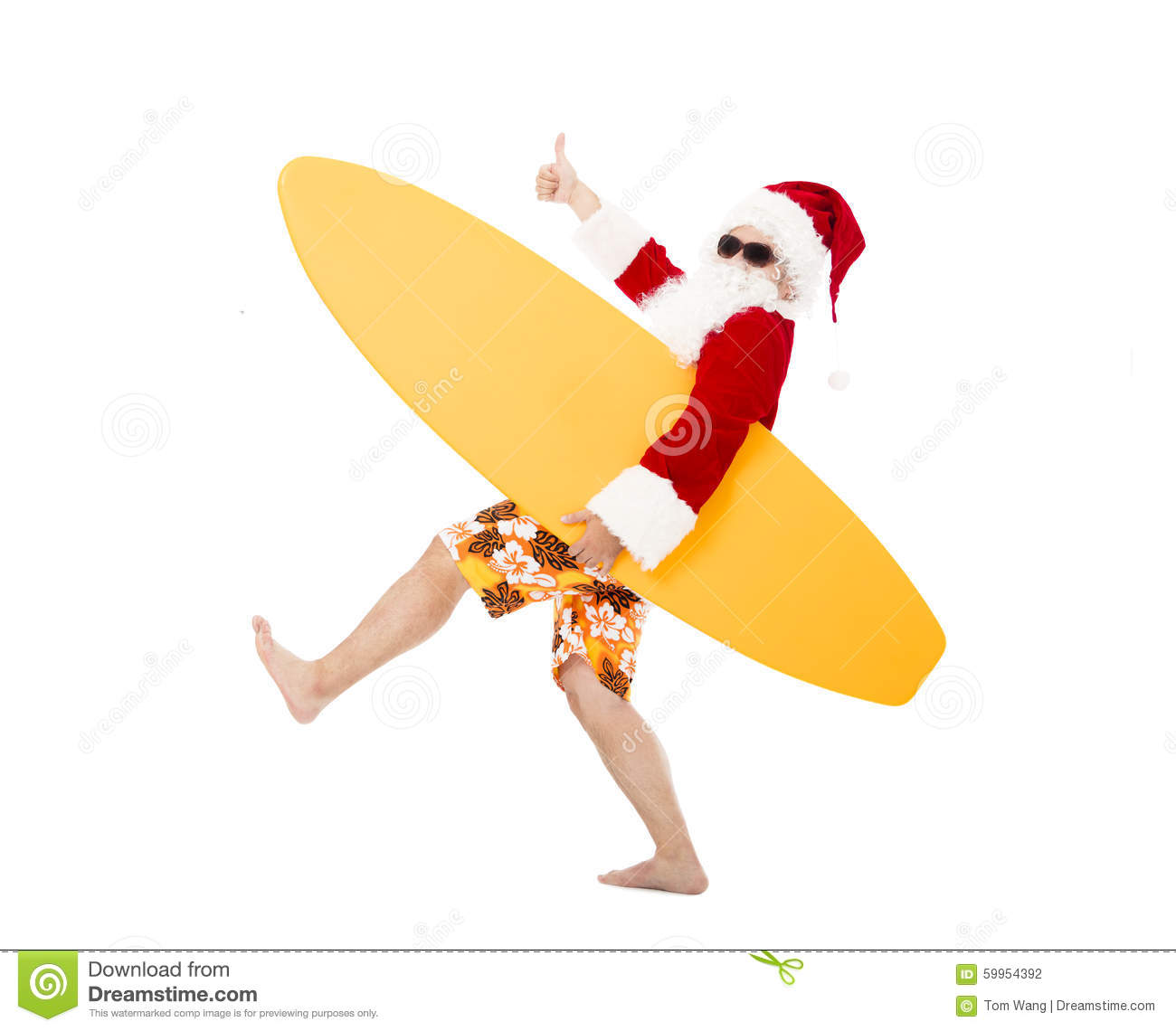 Santa Claus holding surf board with thumb up