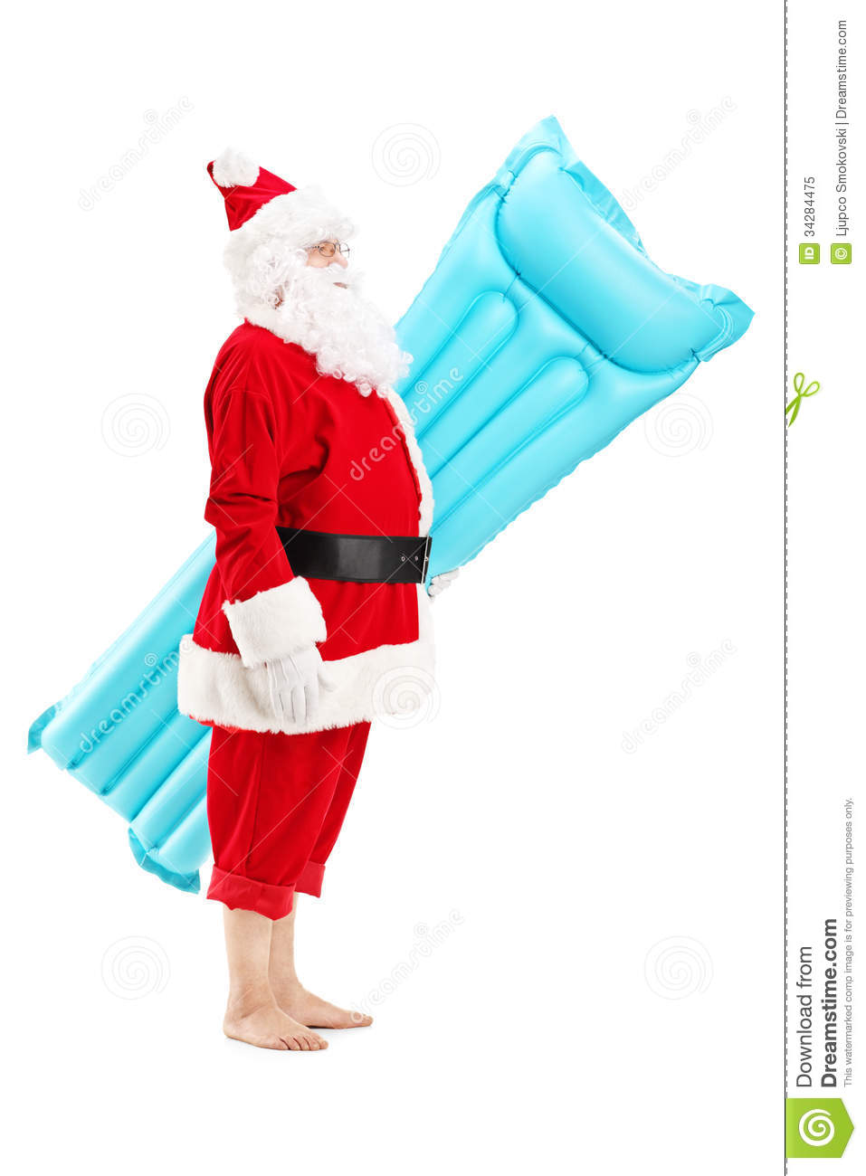 Santa Claus Holding A Swimming Mattress On Vacation Royalty Free Stock ...
