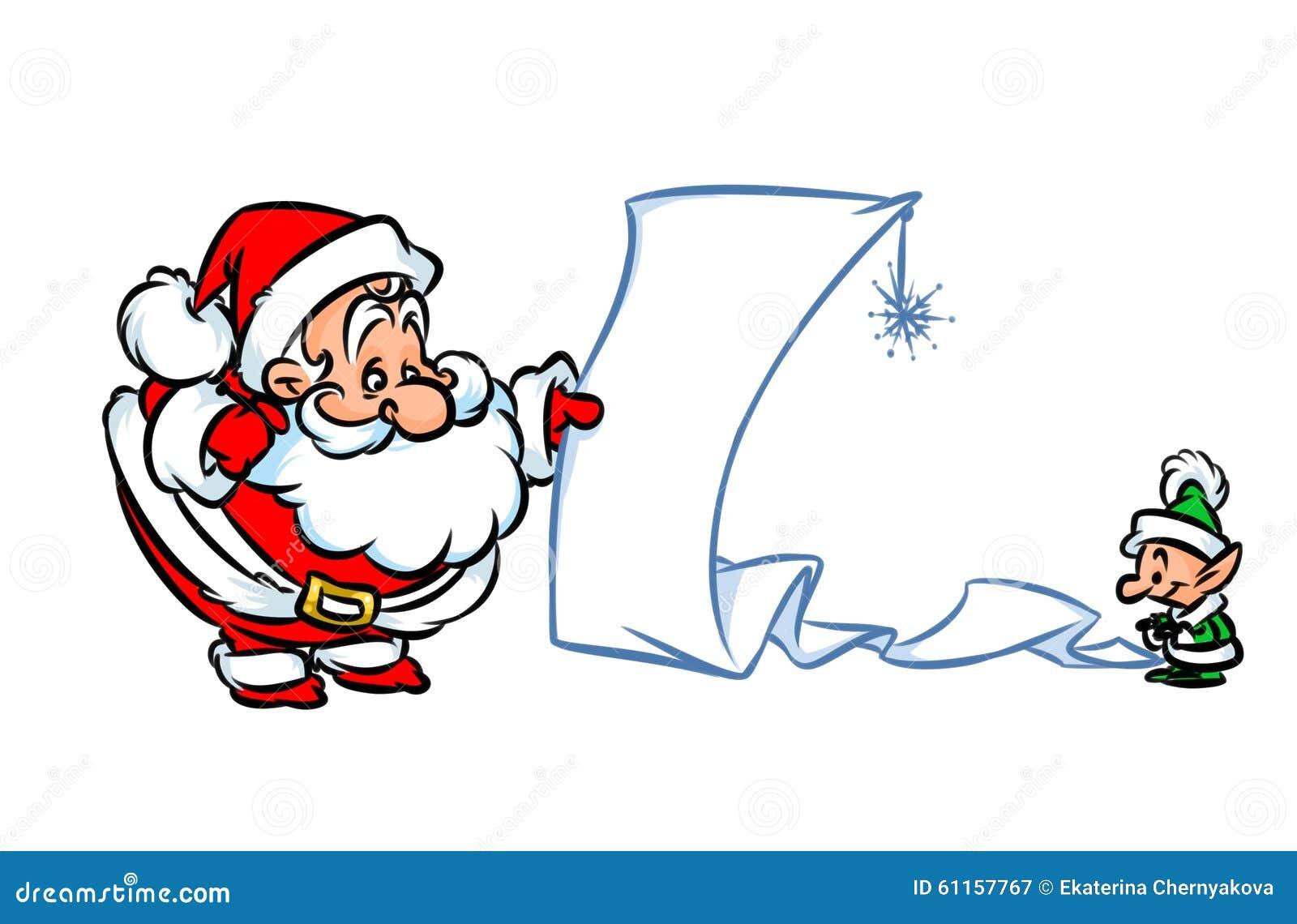santa claus holiday gift list cartoon illustration royalty free stock photography - Holiday Cartoons Free