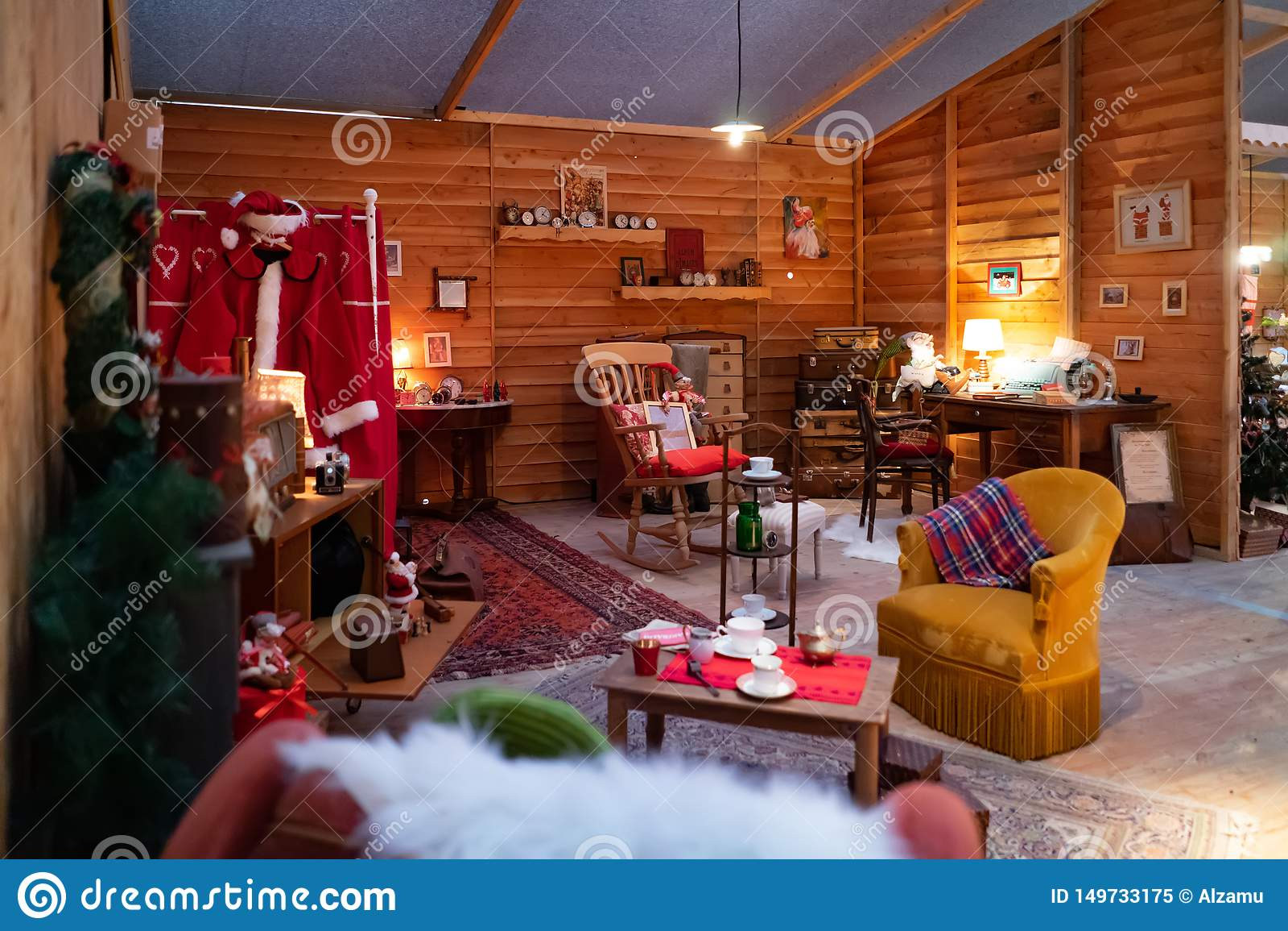 Santa Claus hus, ställe du Capitole på jul i Toulouse, Frankrike