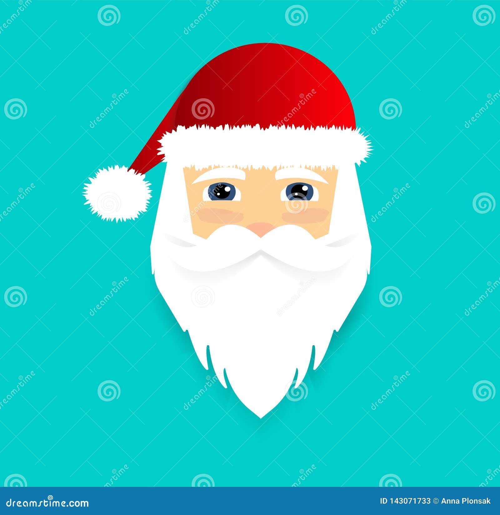 Santa Claus Icon Visage du père noël Flache Art Auch im corel abgehobenen Betrag