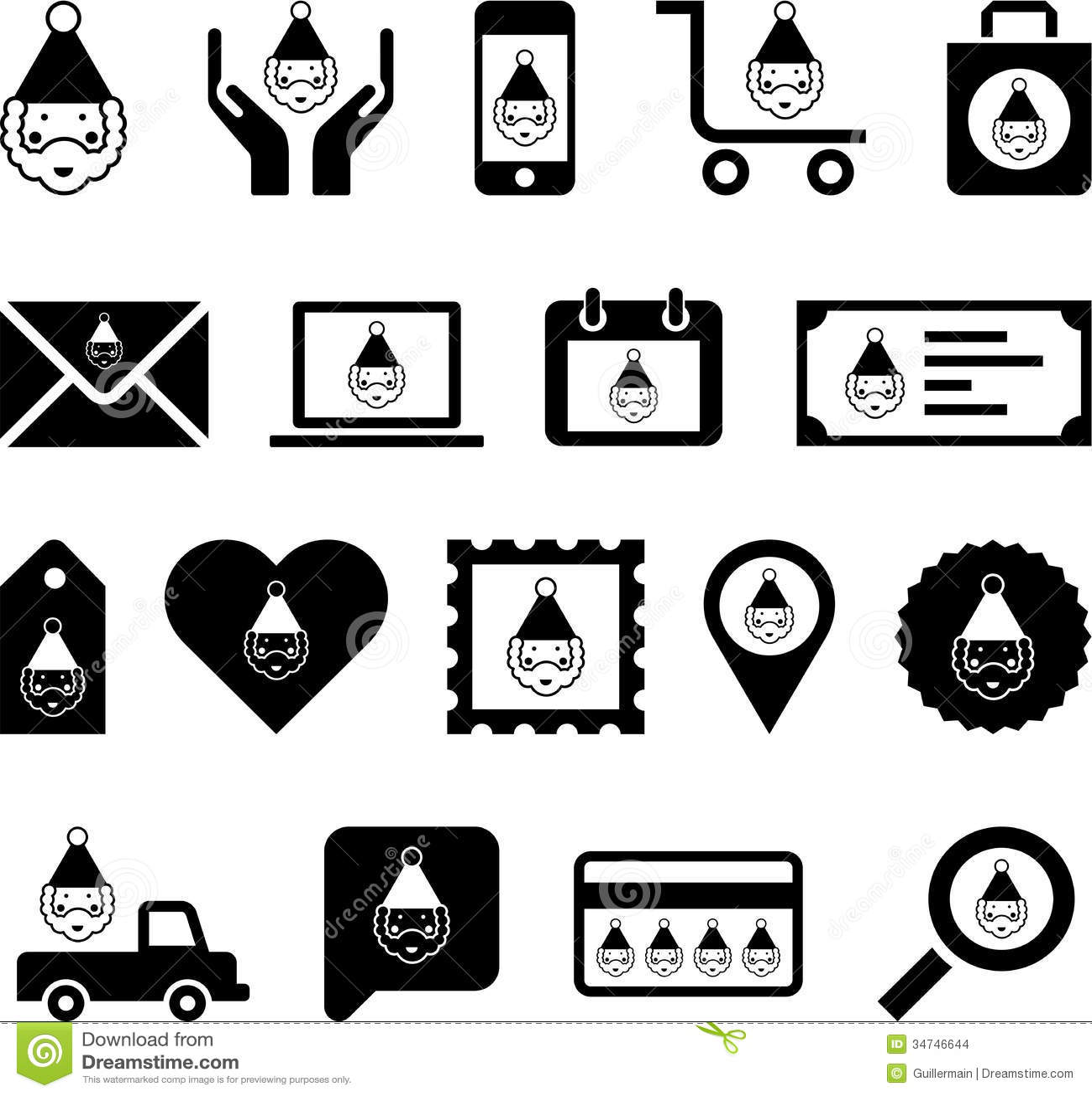 Santa Claus Icons Or Symbols Stock Vector Illustration Of Heart