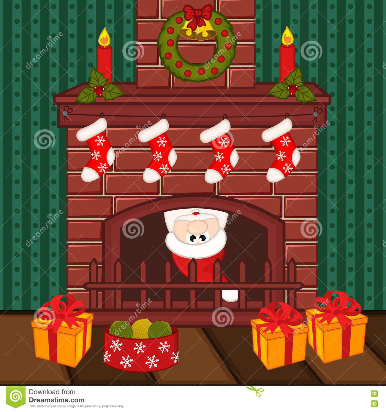 Santa Claus Inside Fireplace Vector Illustration Eps