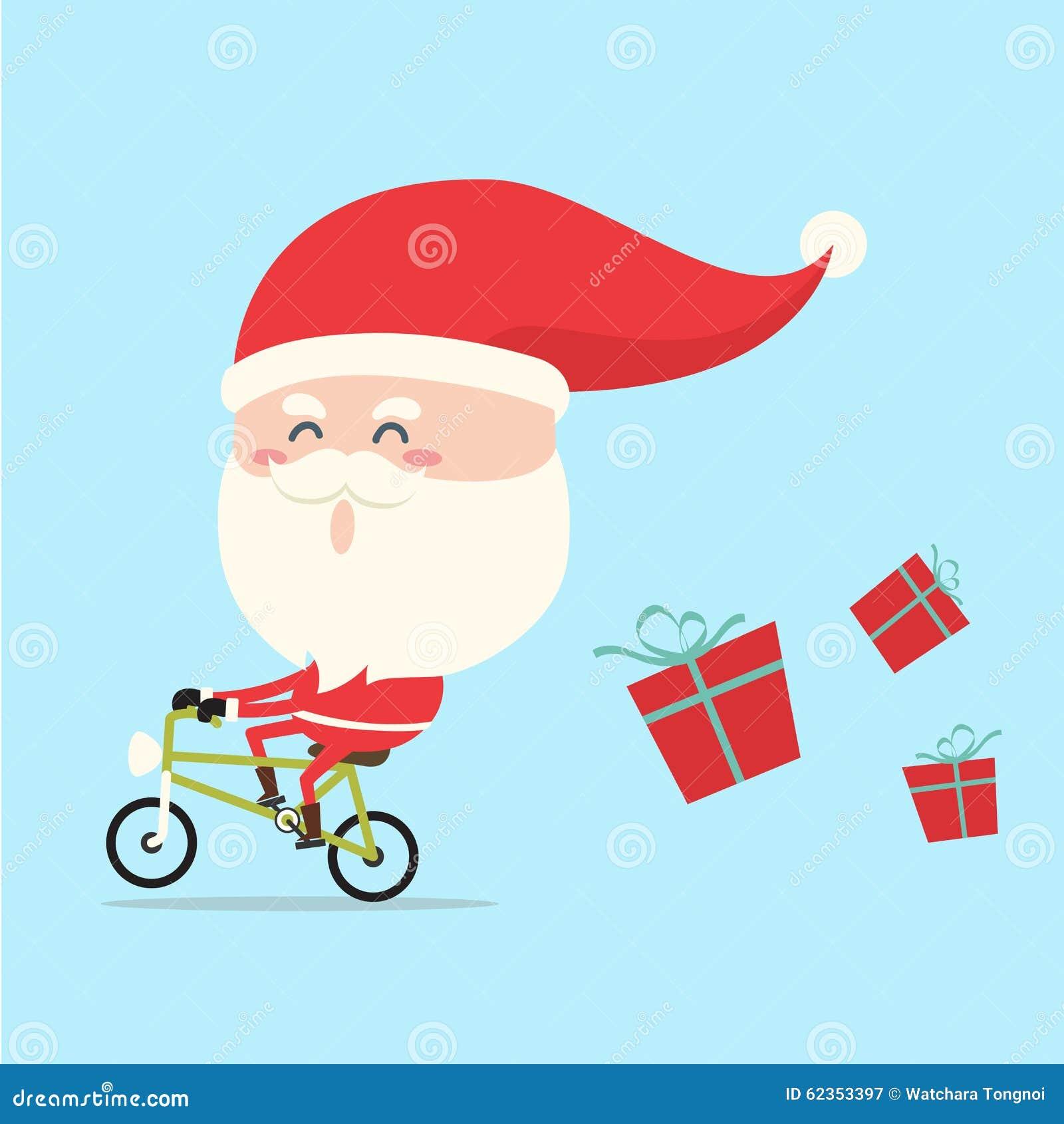 Santa Claus jazdy rower