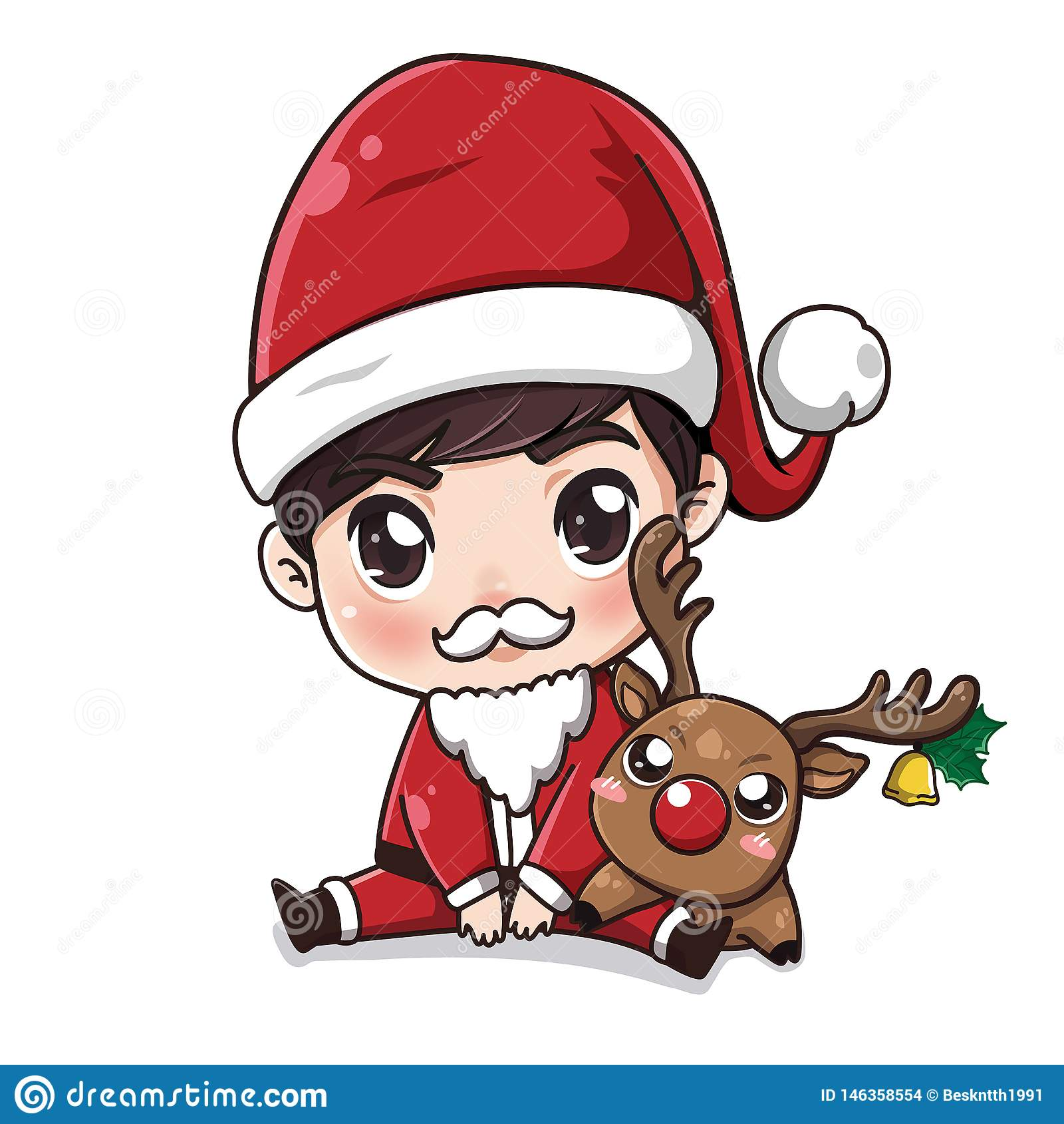 Santa Claus-jongen en weinig hert
