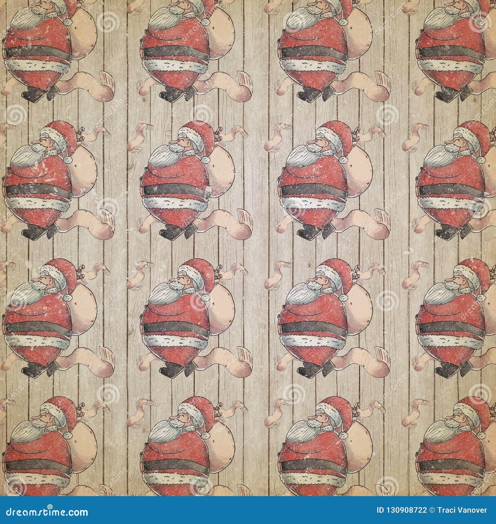 Santa Claus - jullista - semestra svart mönstrat papper - - rött - bekymrad tappningjul - tillverka - Digital legitimationshandli
