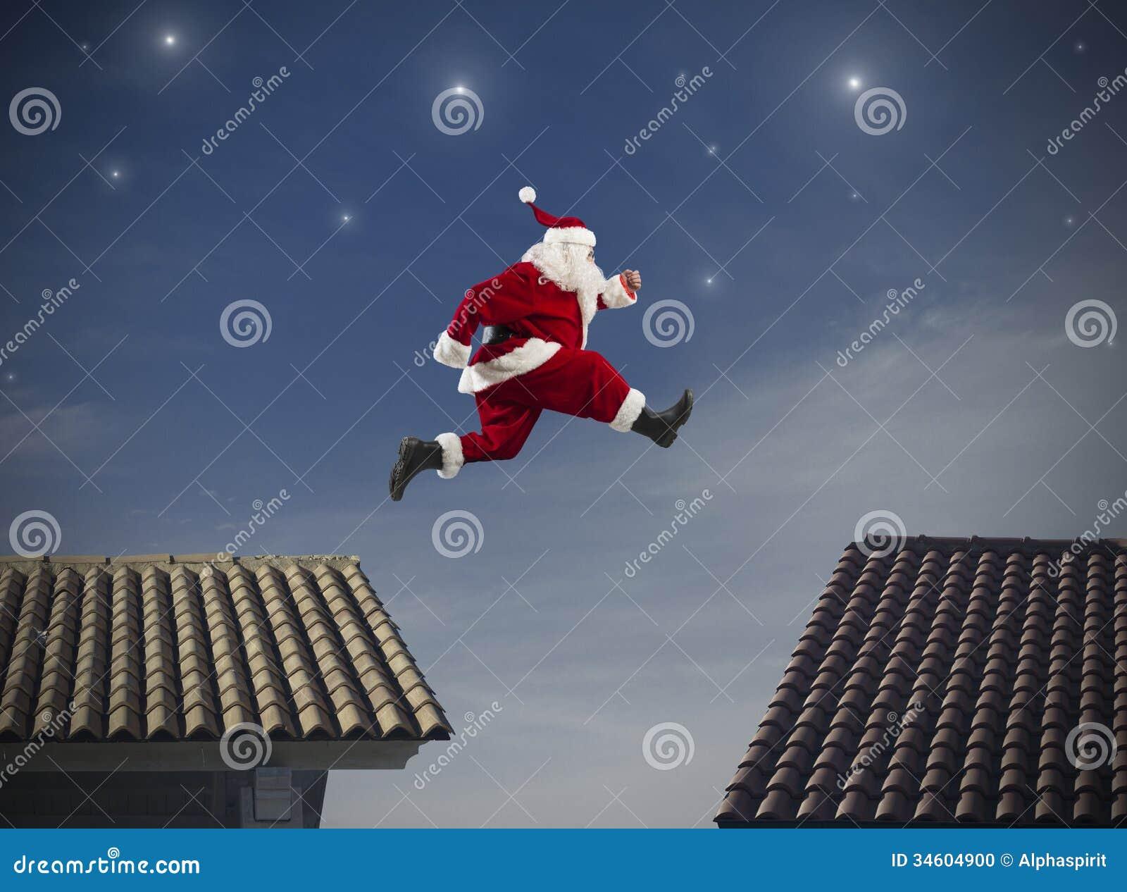 Santa Claus Jump Stock Photo Image Of Night Fast