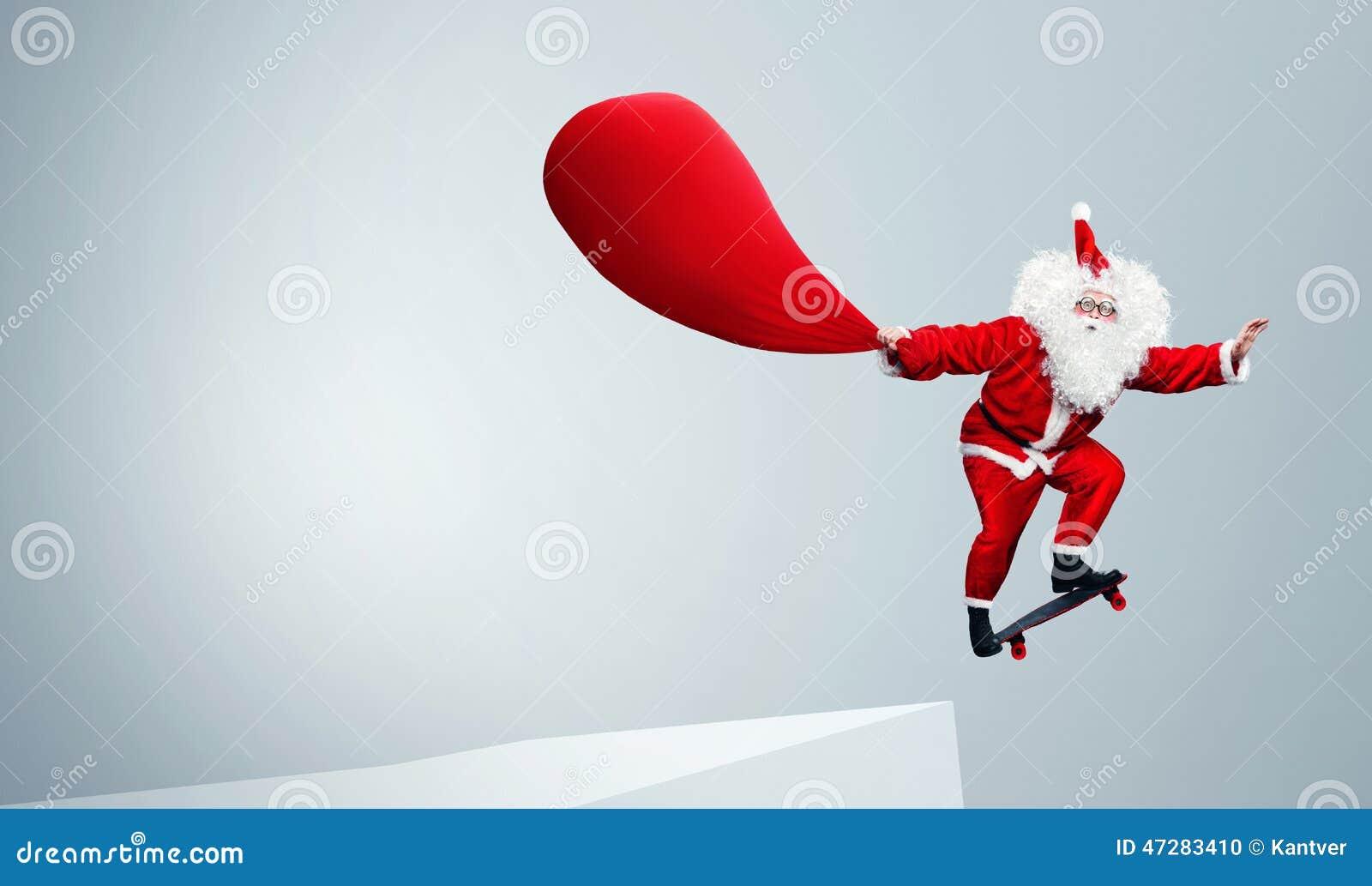 Santa Claus Jumping With Skateboard Stock Photo Image Click Santa Claus Skateboard