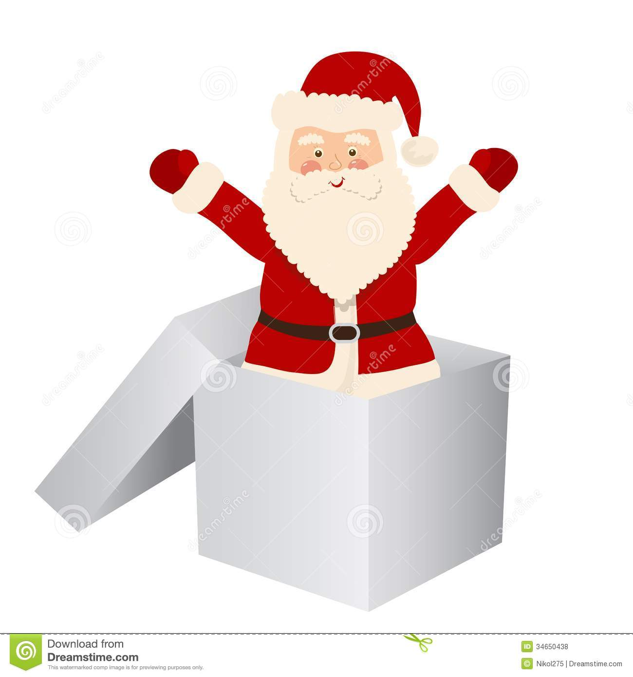 Santa claus jumps out of the white box stock vector