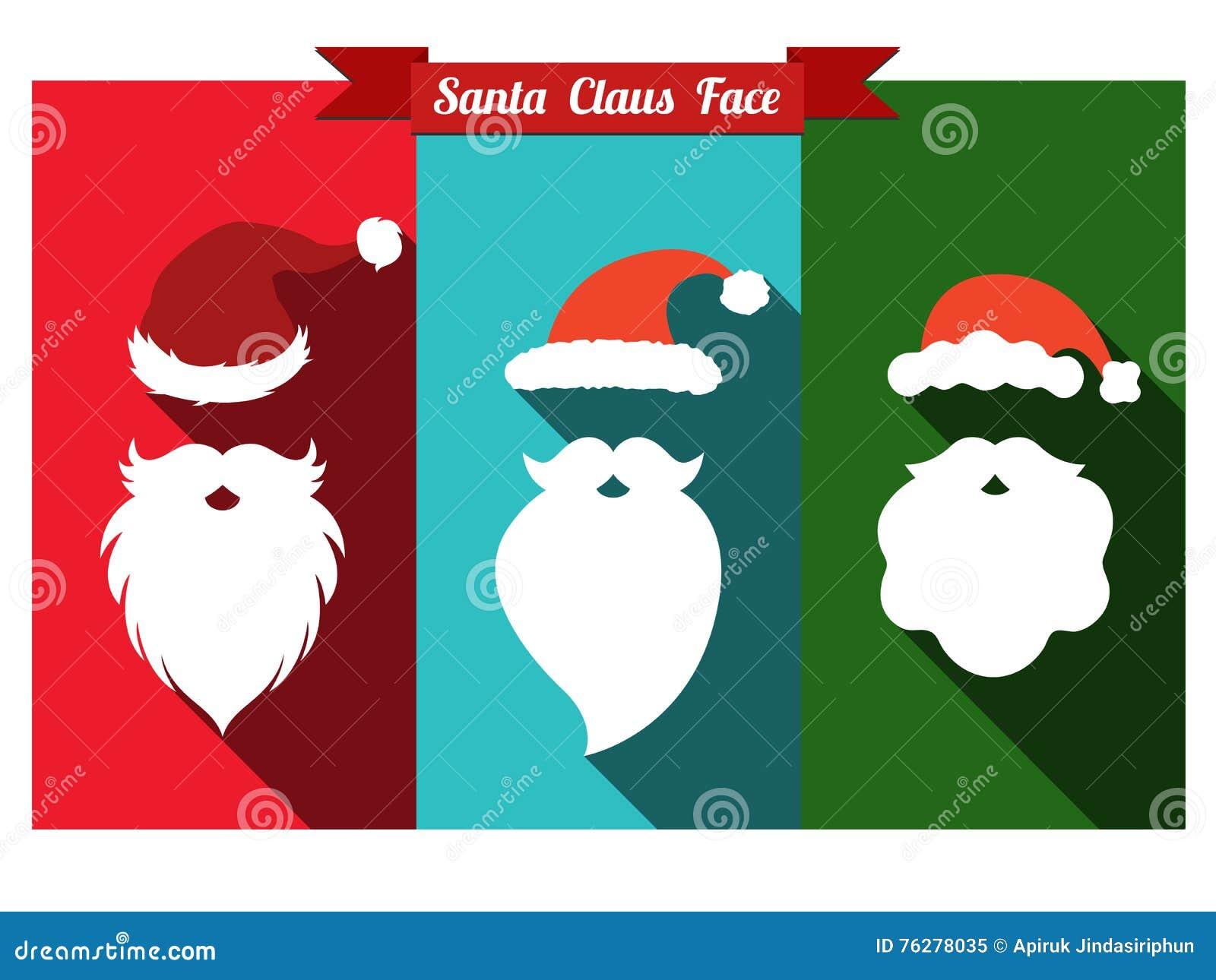 Santa Claus kapelusze i brod płaskie ikony z długim cieniem