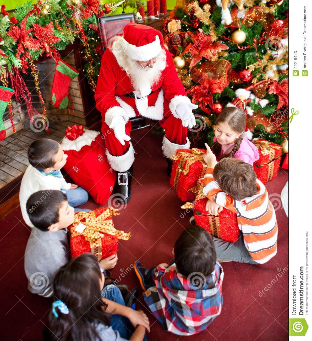 Santa claus with the kids stock image of