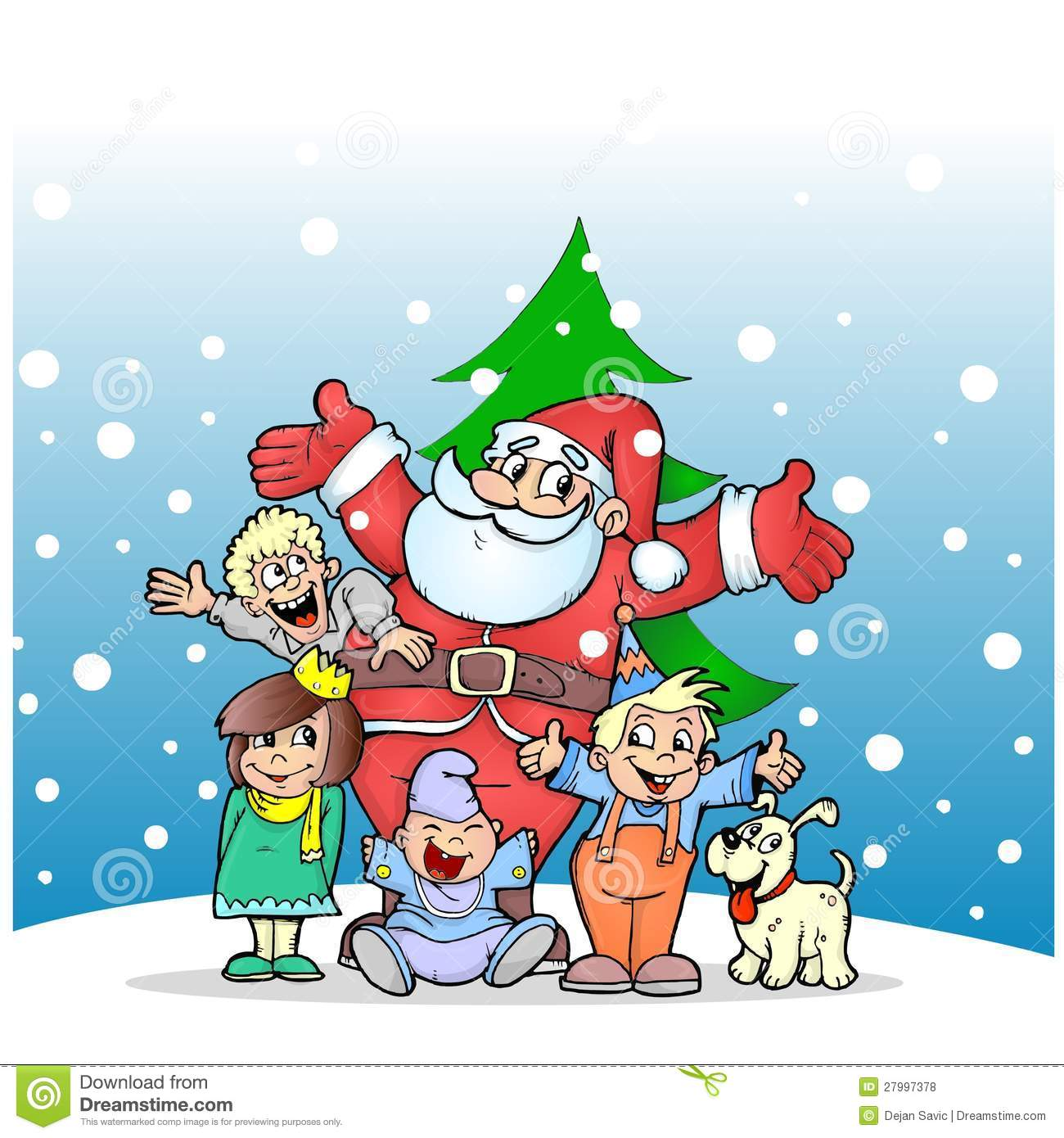 Santa Claus with kids and dog
