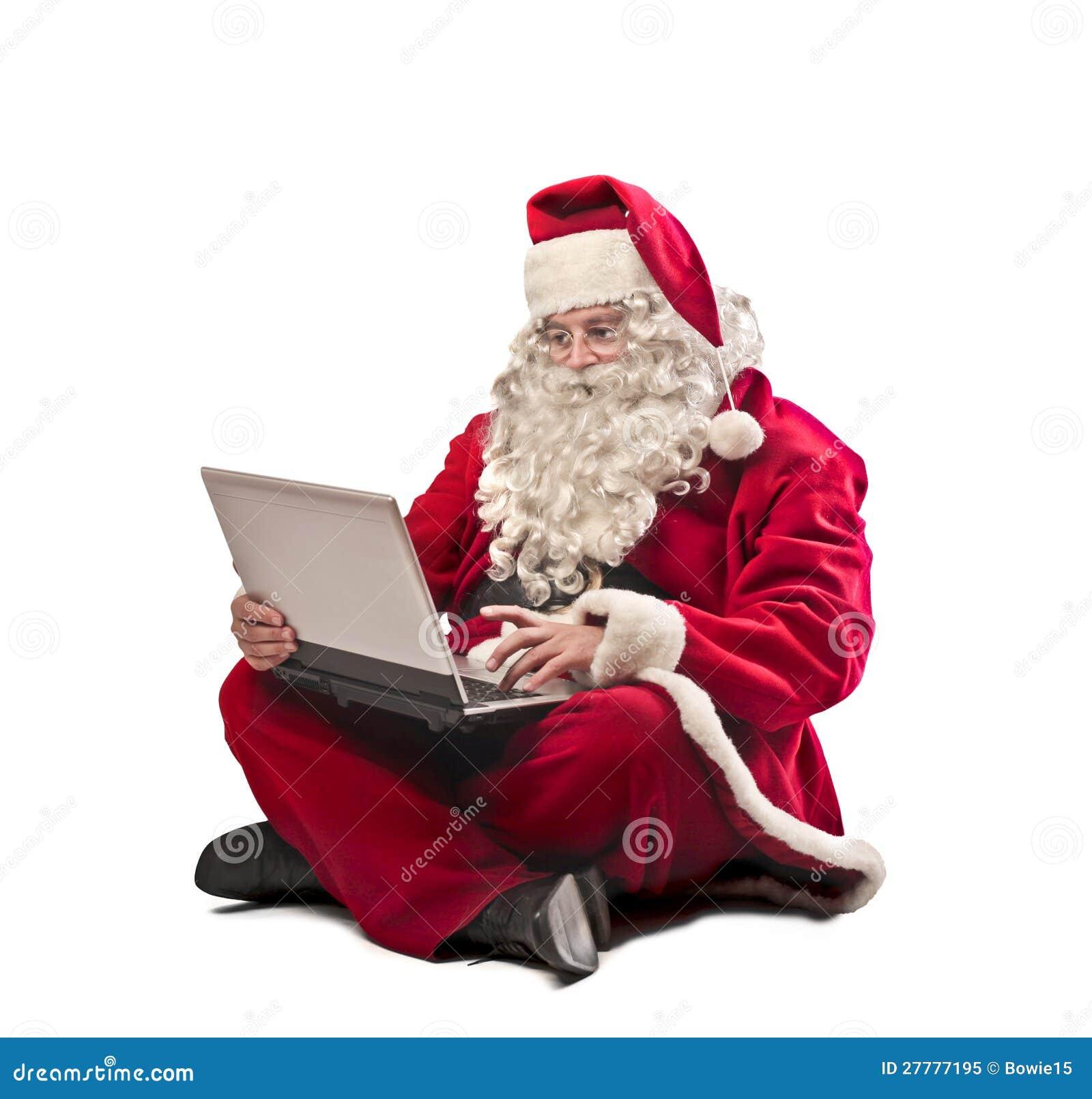 Santa Claus Laptop Royalty Free Stock Image