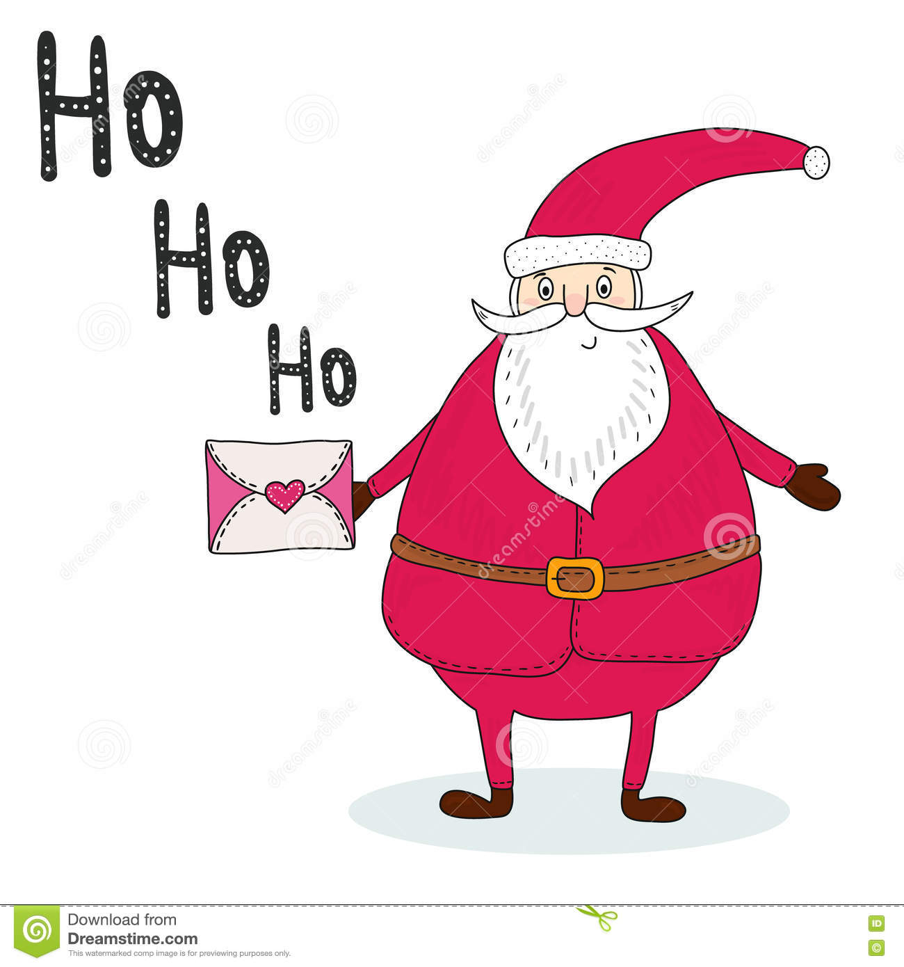 Santa Claus With A Letter. Congratulation Retro Background ...