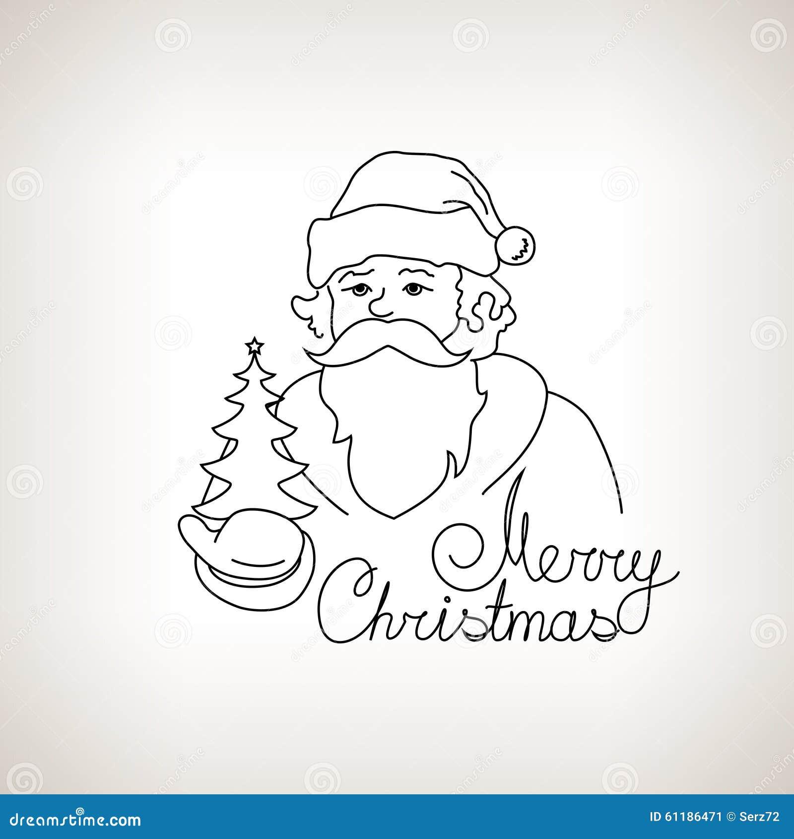 Santa claus with christmas tree sketch