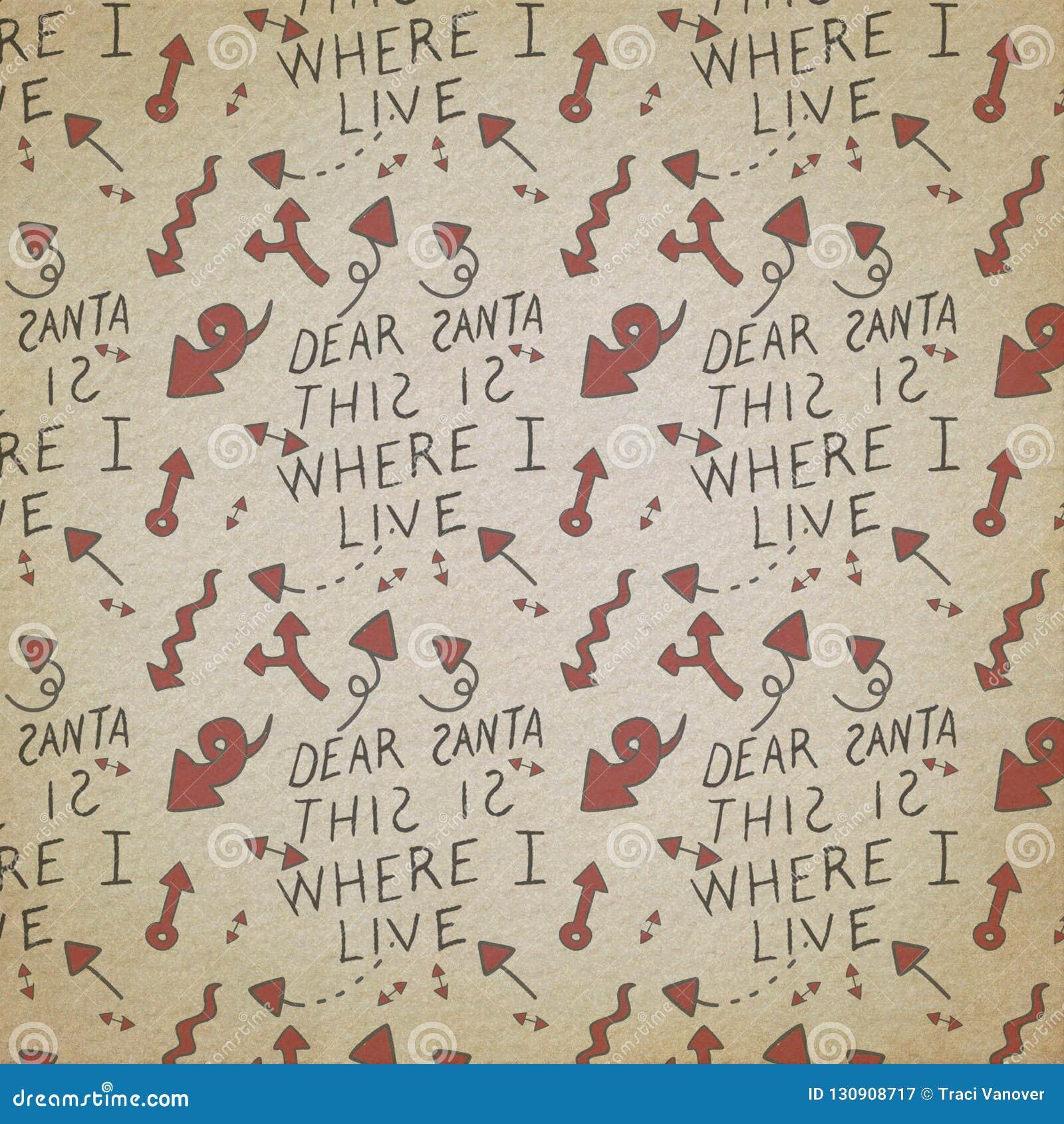 Santa Claus - lista di Natale - carta modellata festa - Natale d annata afflitto rosso- nero- - che elabora - carte di Digital