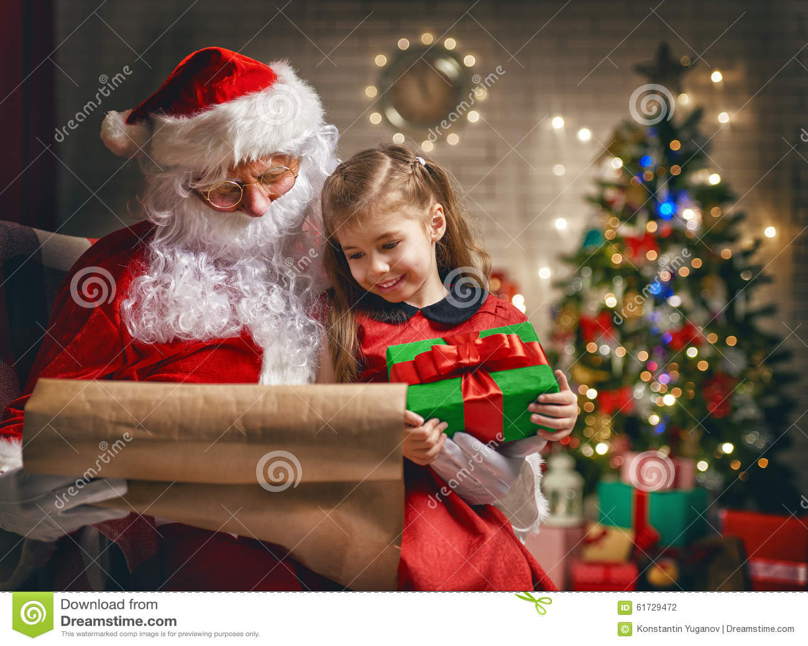 santa claus and little girl decorated home - Santa Santa Claus