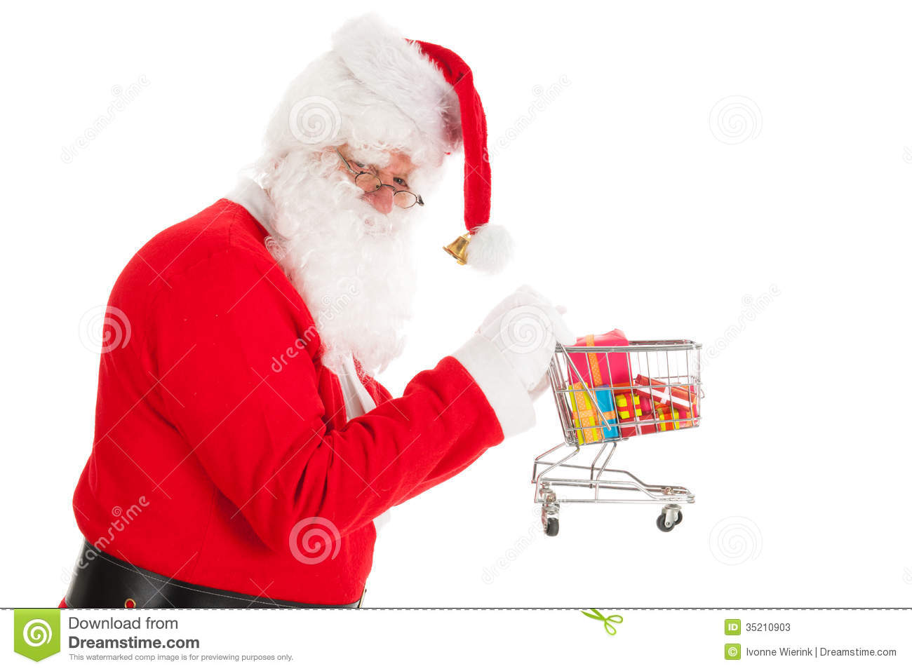 Santa Claus with little shopping cart