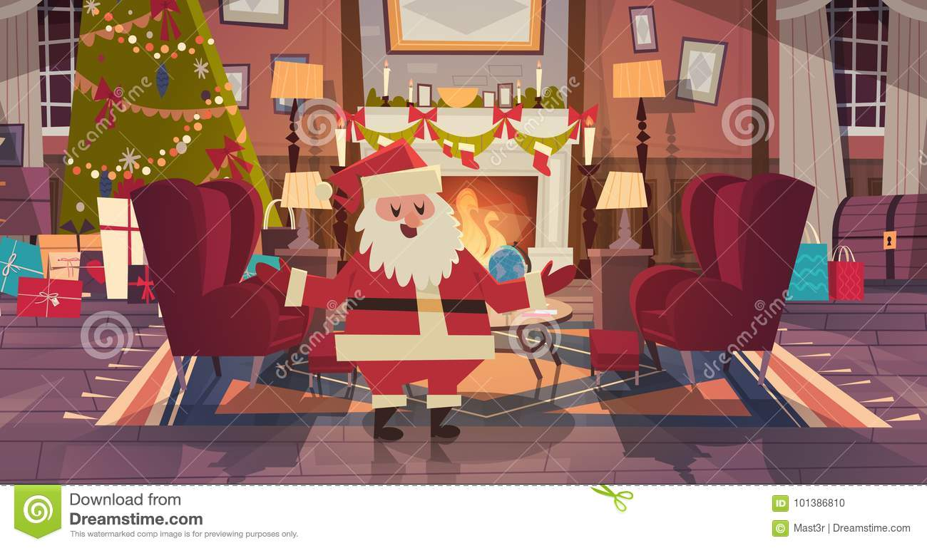 Santa Claus In Living Room Decorated For Christmas And New Year At
