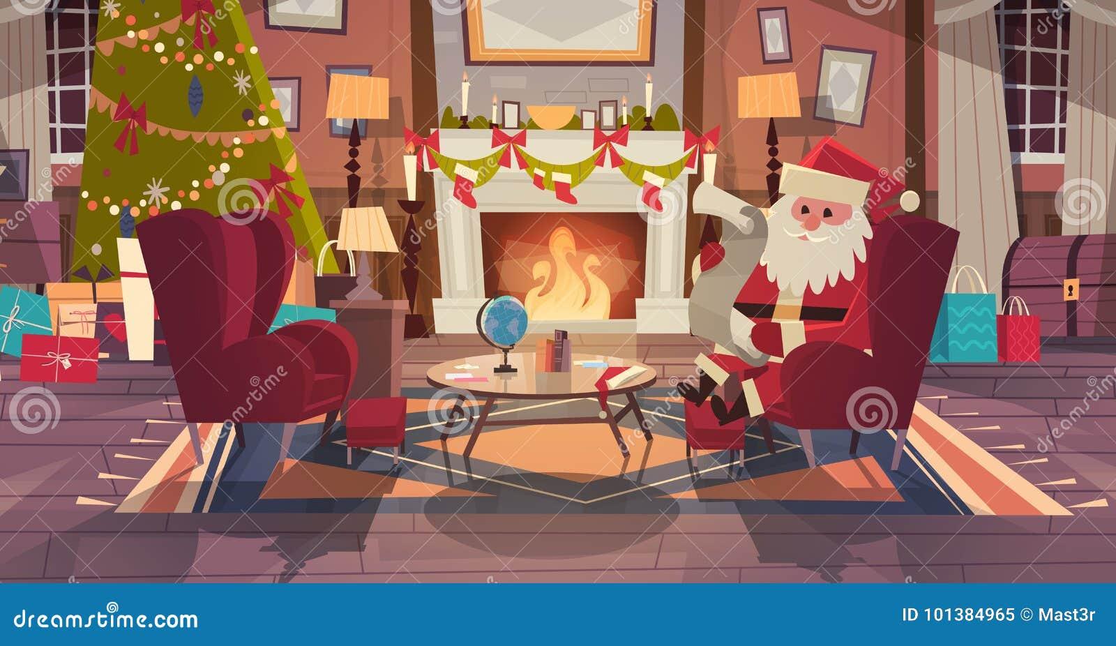 Santa Claus In Living Room Decorated für Weihnachts-und neues Jahr-Sit In Armchair Near Pine-Baum und Kamin, Haus