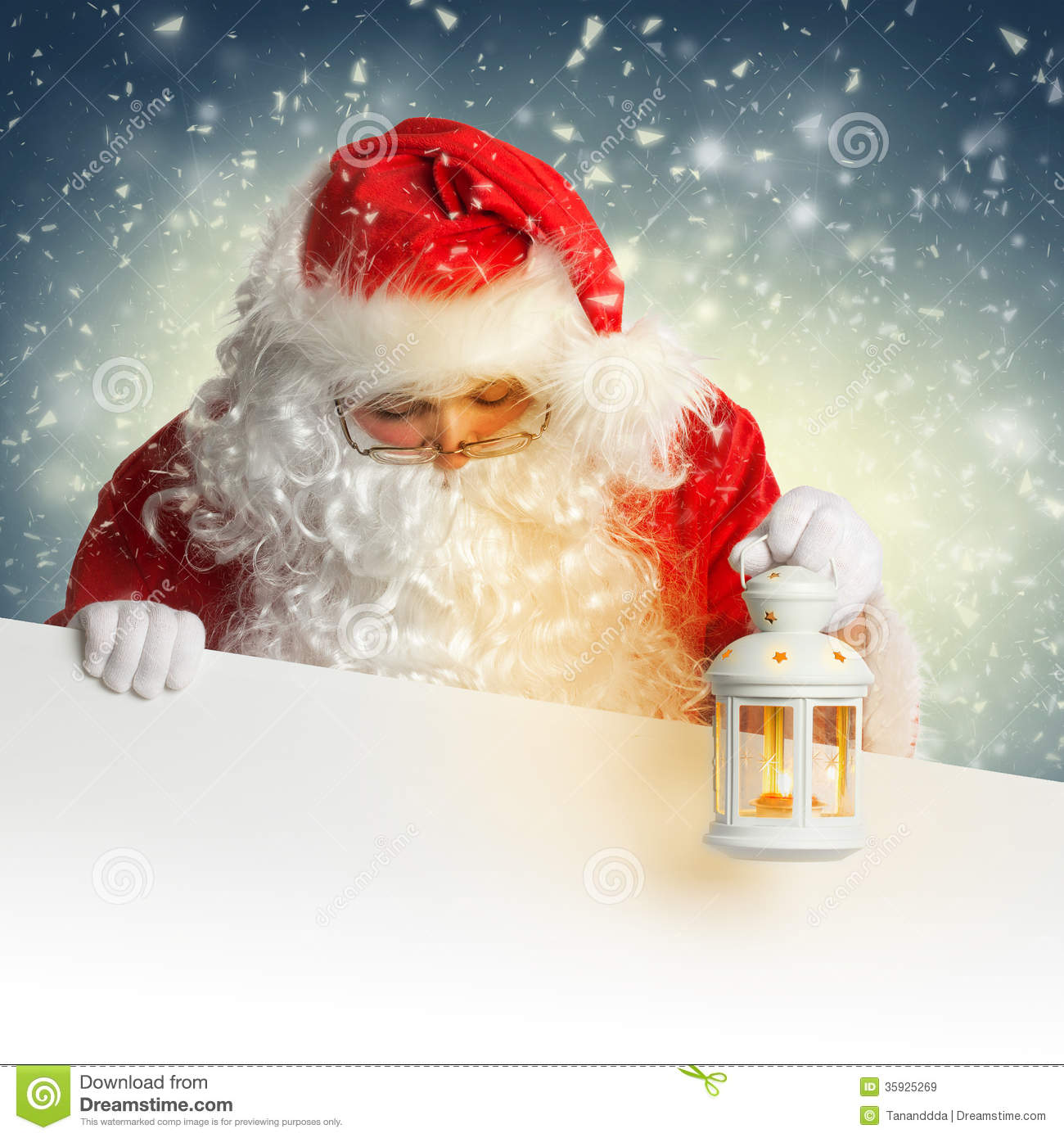 Santa claus looking down on white blank banner holding