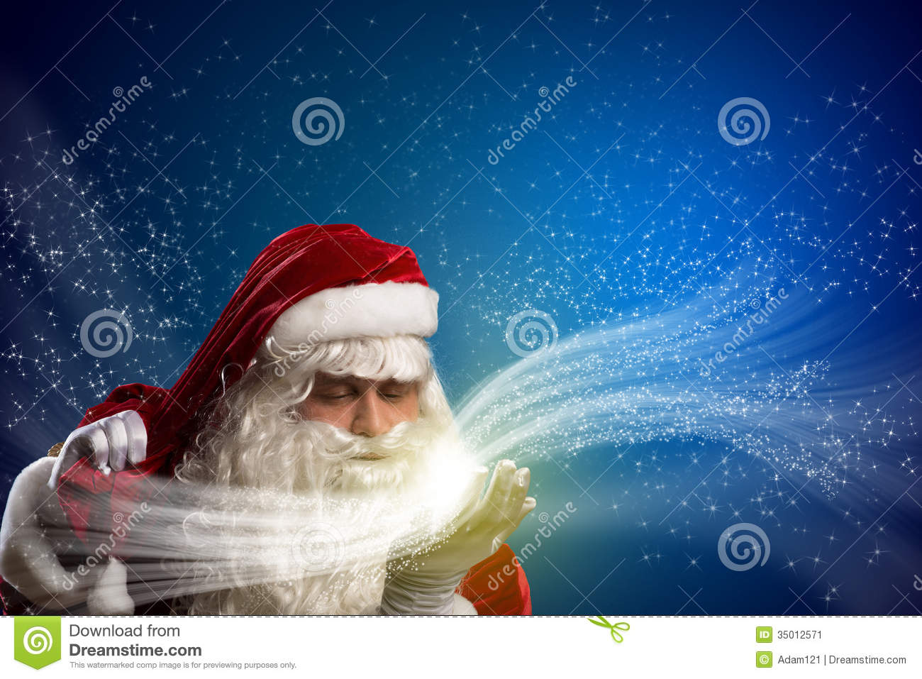Santa Claus and the magic stock image. Image of open ...