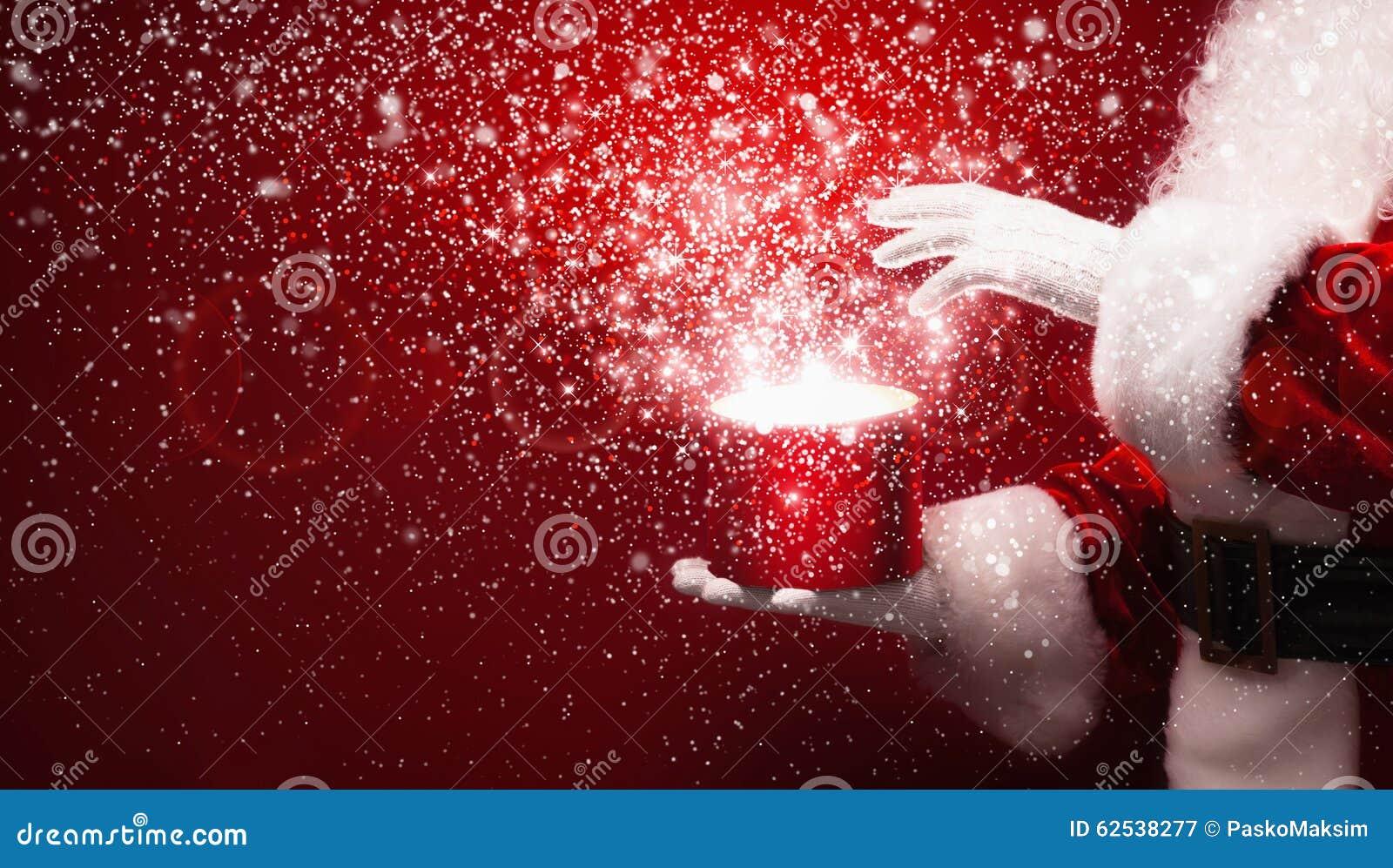 Santa Claus with magic box