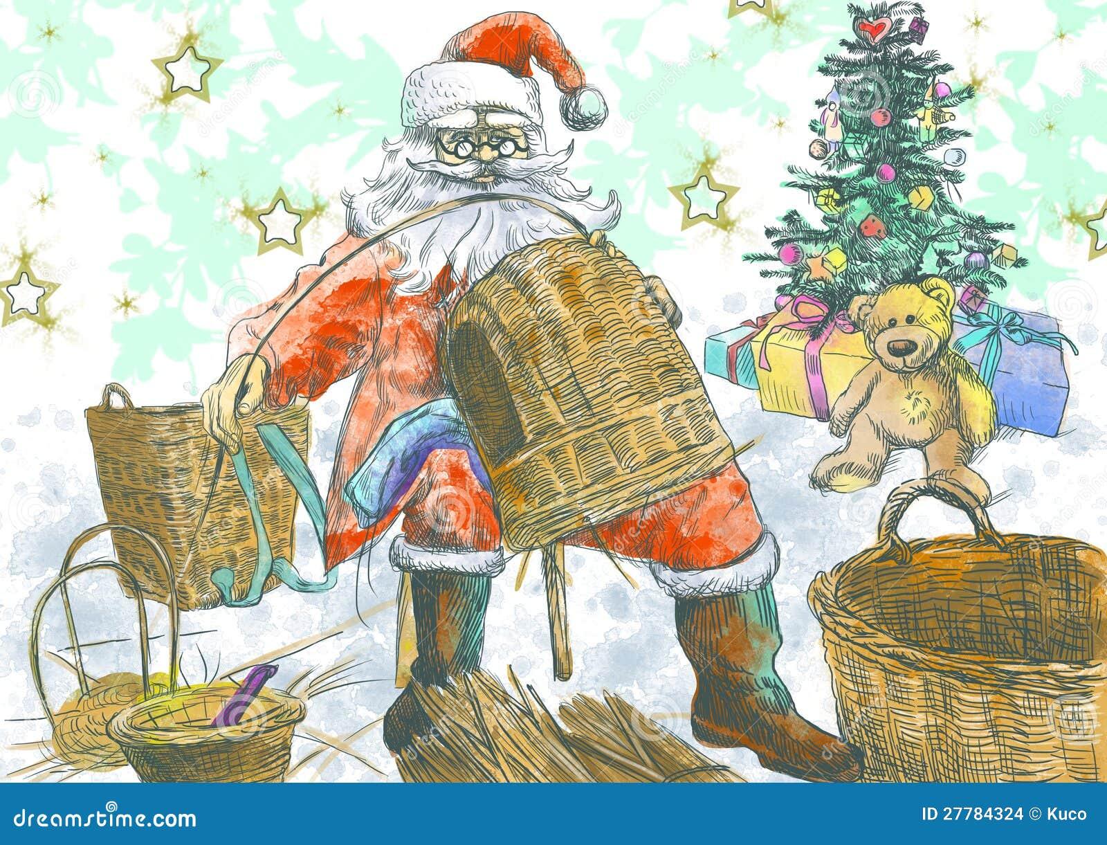 Santa claus making baskets stock images image