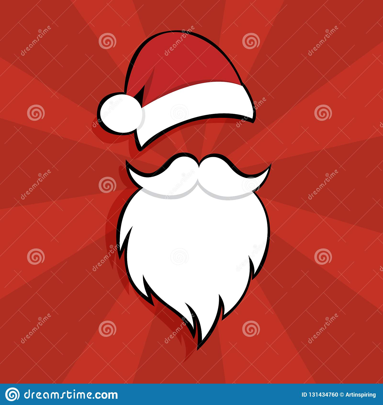 789c2550110 Santa Claus Mask With Hat And Beard Stock Vector - Illustration of ...