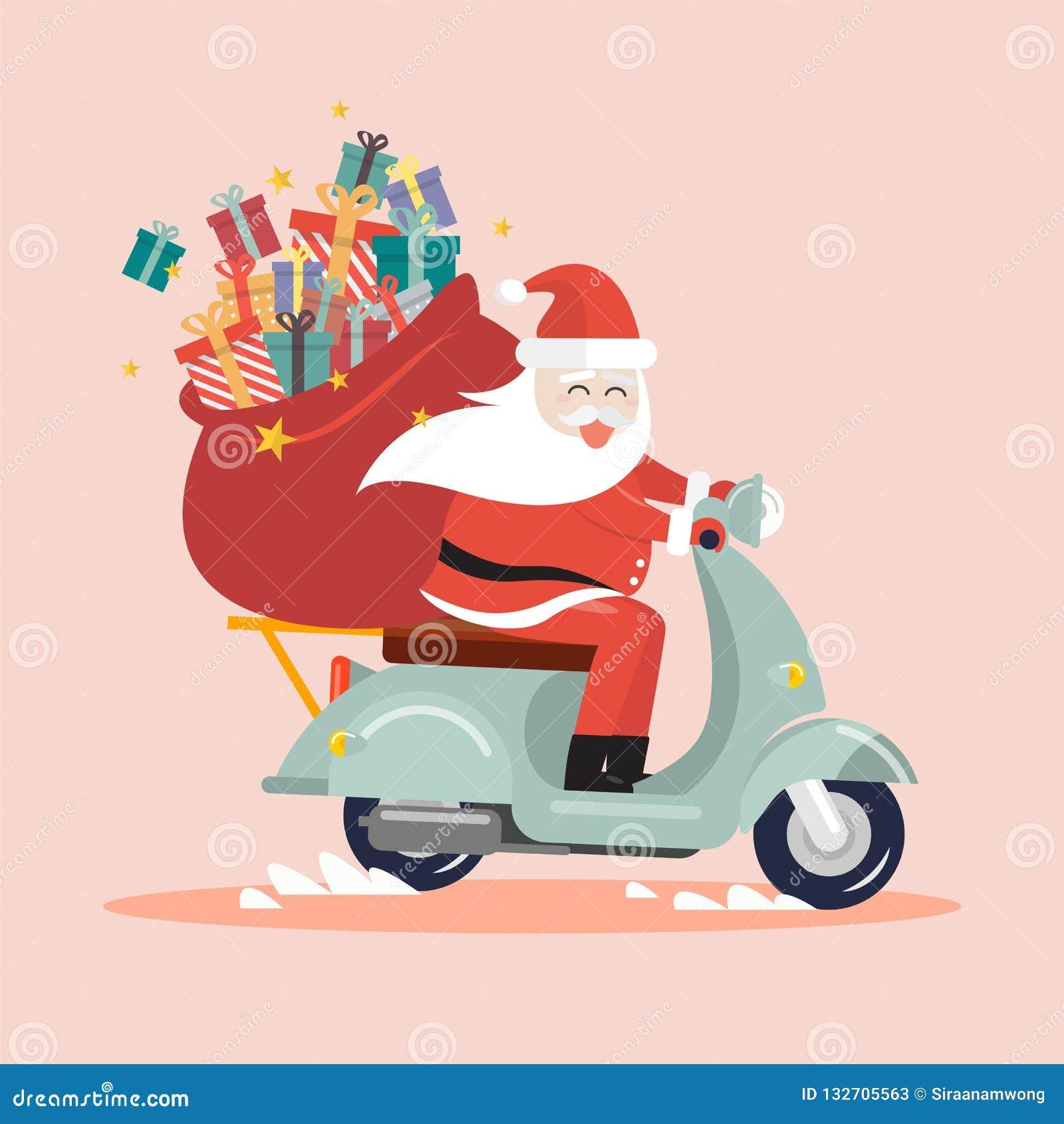 Santa Claus med en gåvasäck som rider en sparkcykel