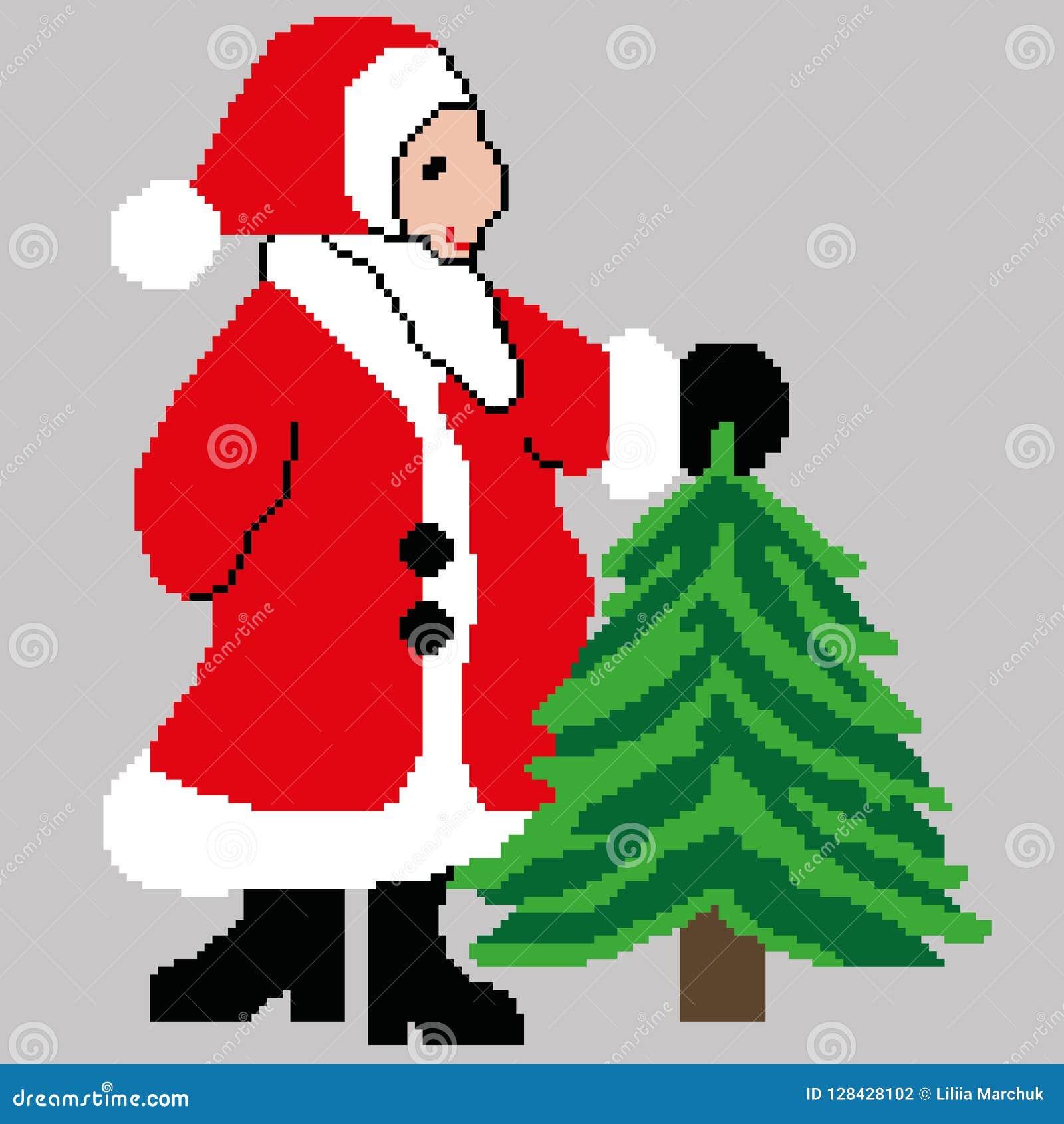 Santa Claus Santa Claus med en julgran som dras i fyrkanter, PIXEL Lyckligt nytt år för hälsningkort också vektor för coreldrawil